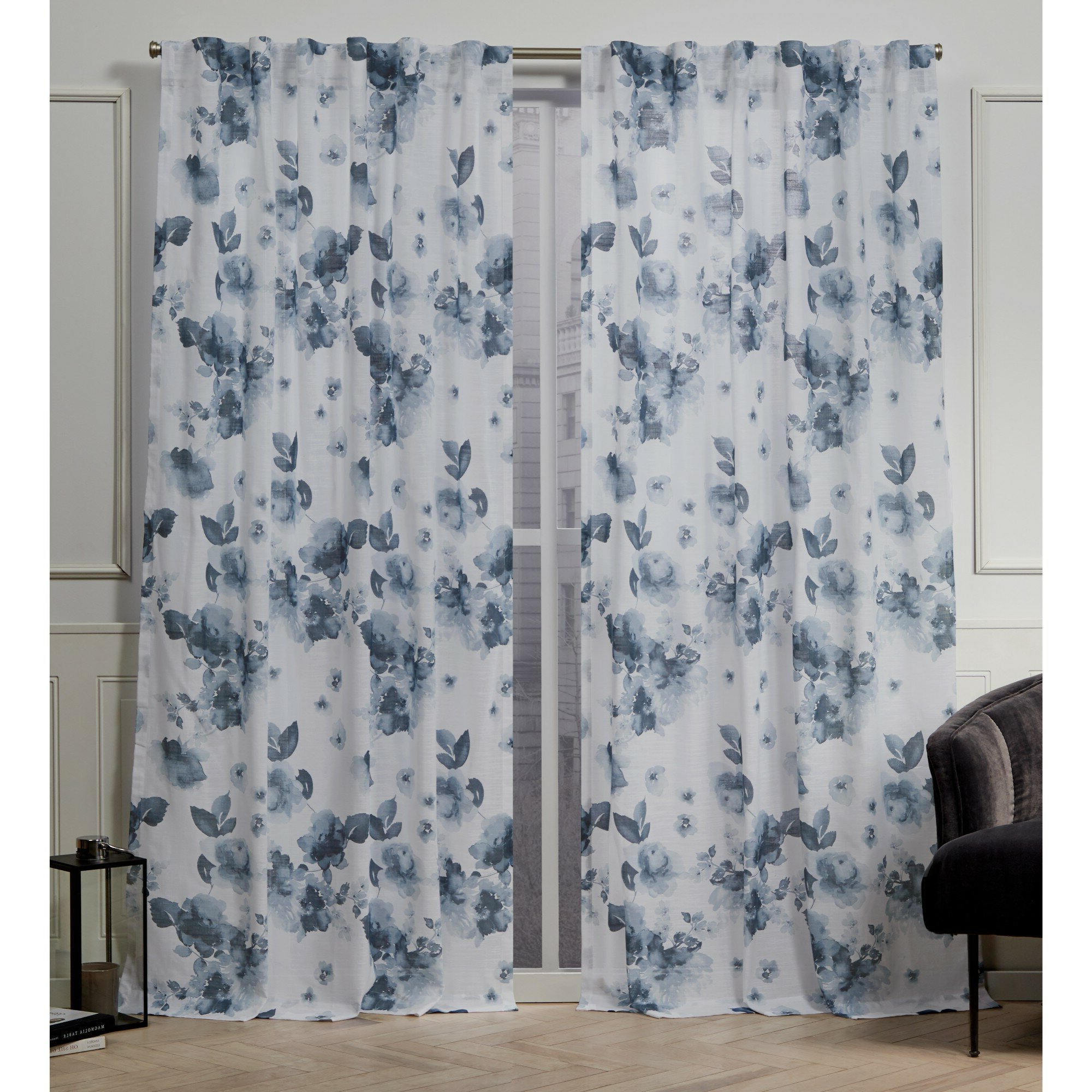 Famous Nicole Miller Kristy Floral Semi Sheer Tab Top Curtain With Vina Sheer Bird Single Curtain Panels (View 17 of 20)