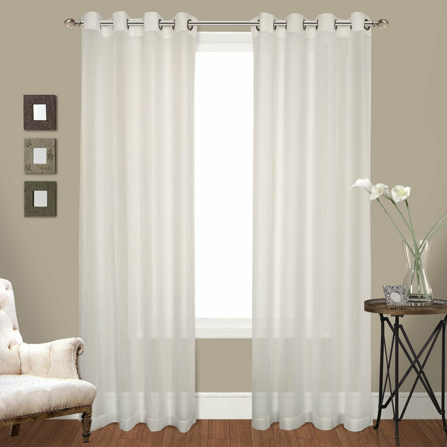 Famous Pairs To Go Victoria Voile Curtain Panel Pairs With Regard To Ortley Crushed Voile Solid Sheer Grommet Curtain Panel Pair (View 15 of 20)