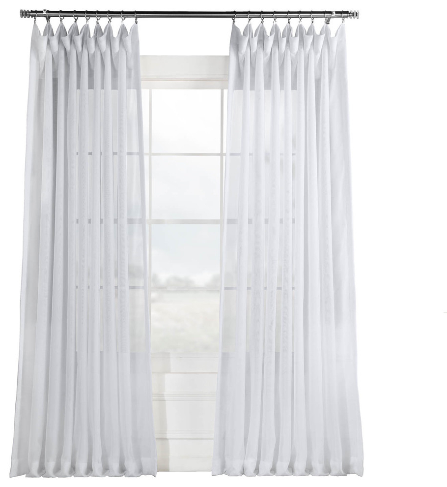 "Famous Signature Double Wide White Sheer Curtain Single Panel, 100""x108"" With Regard To Signature White Double Layer Sheer Curtain Panels (View 9 of 20)"