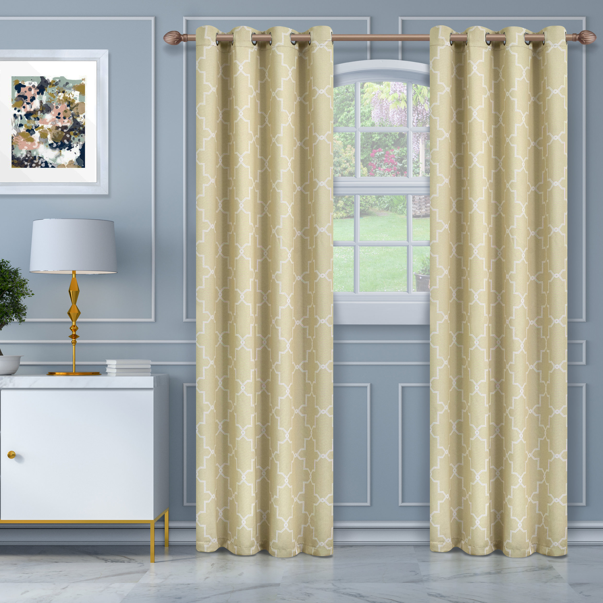 Famous Superior Solid Insulated Thermal Blackout Grommet Curtain Panel Pairs With Regard To Superior Soft Quality Woven, Imperial Trellis Blackout Thermal Grommet  Curtain Panel Pair (Gallery 19 of 20)