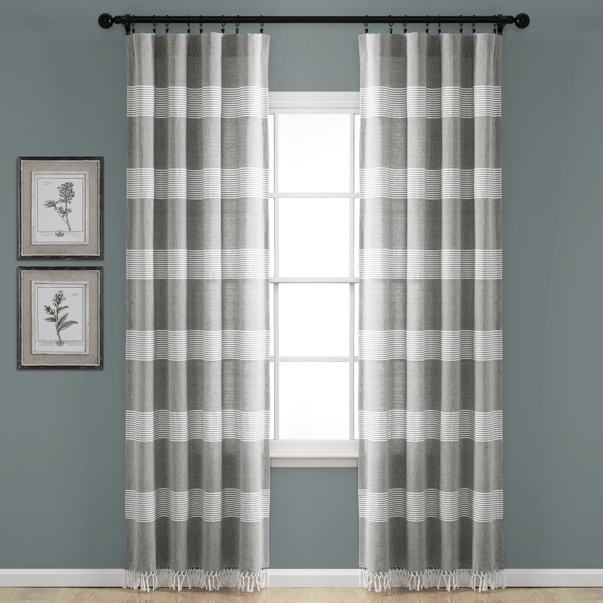 Famous Tassels Applique Sheer Rod Pocket Top Curtain Panel Pairs With Regard To Rhys Tucker Yarn Dyed Knotted Tassel Window Striped Rod Pocket Curtain  Panels (View 6 of 20)