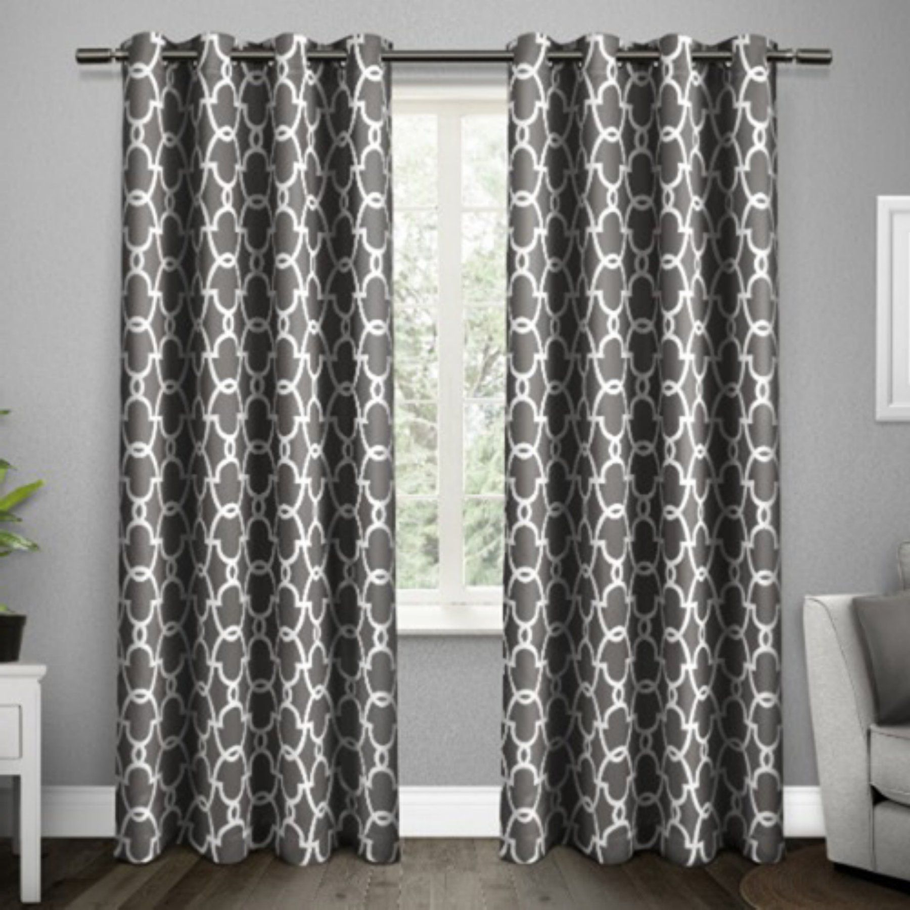 Famous The Curated Nomad Duane Jacquard Grommet Top Curtain Panel Pairs Throughout Exclusive Home Gates Window Curtain Panel Pair – Eh8135 01 2 (Gallery 7 of 21)