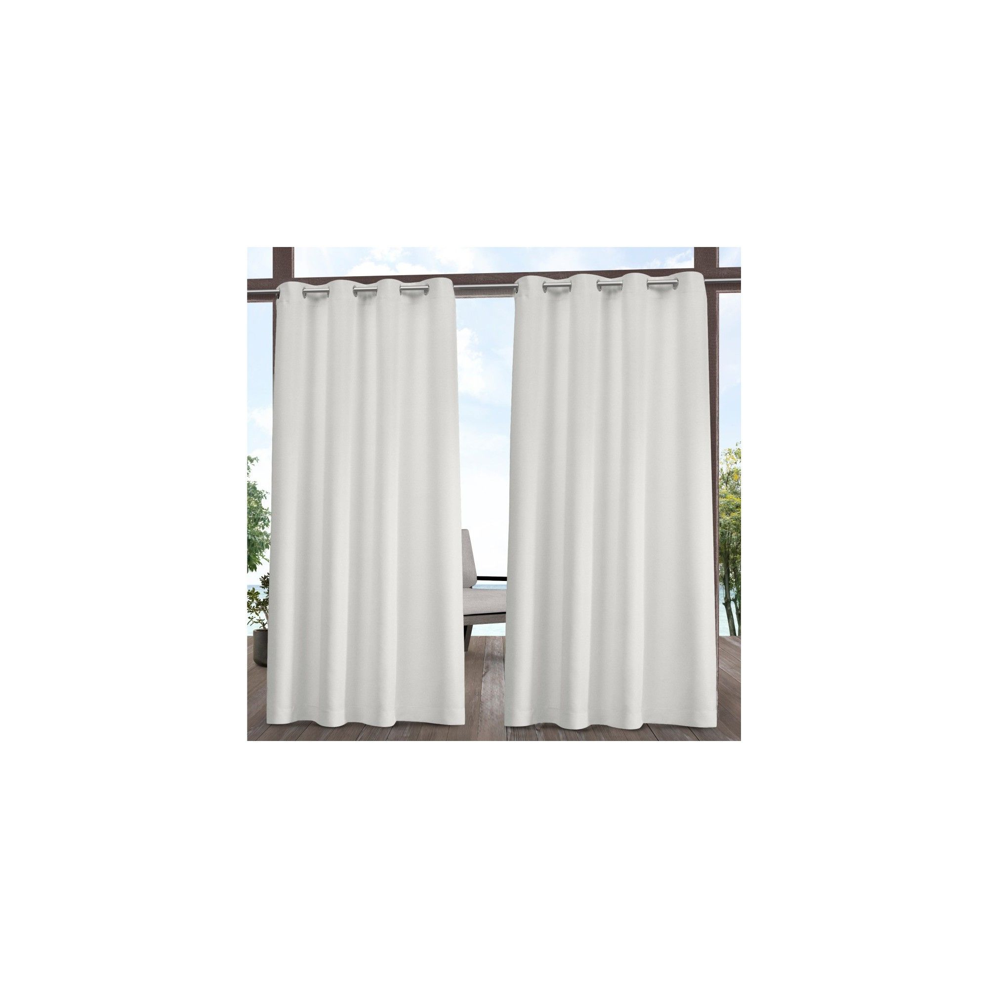 "Fashionable 54""x84"" Indoor/outdoor Solid Cabana Grommet Top Window Inside Solid Grommet Top Curtain Panel Pairs (Gallery 8 of 20)"