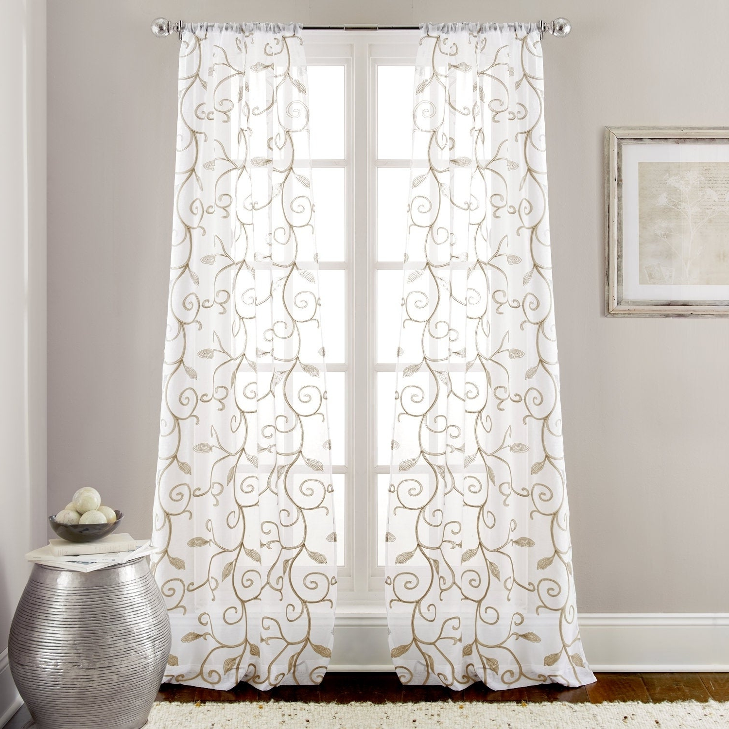 Featured Photo of Overseas Leaf Swirl Embroidered Curtain Panel Pairs