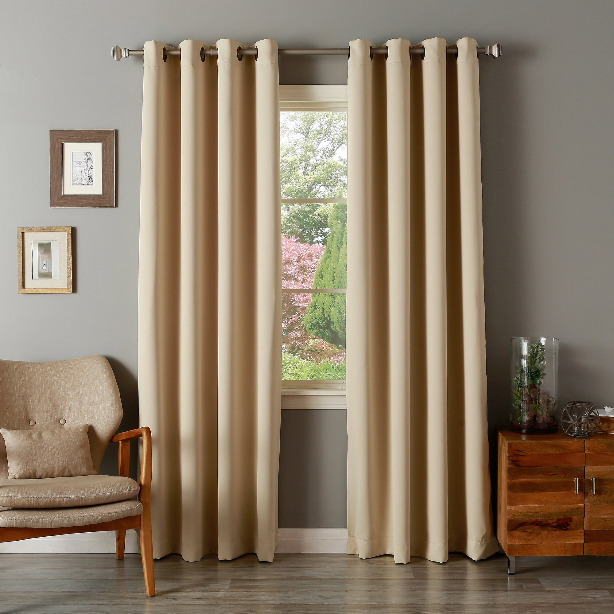 Fashionable Aurora Home Solid Grommet Top Thermal Insulated 108 Inch Blackout Curtain  Panel Pair Throughout Solid Grommet Top Curtain Panel Pairs (Gallery 11 of 20)