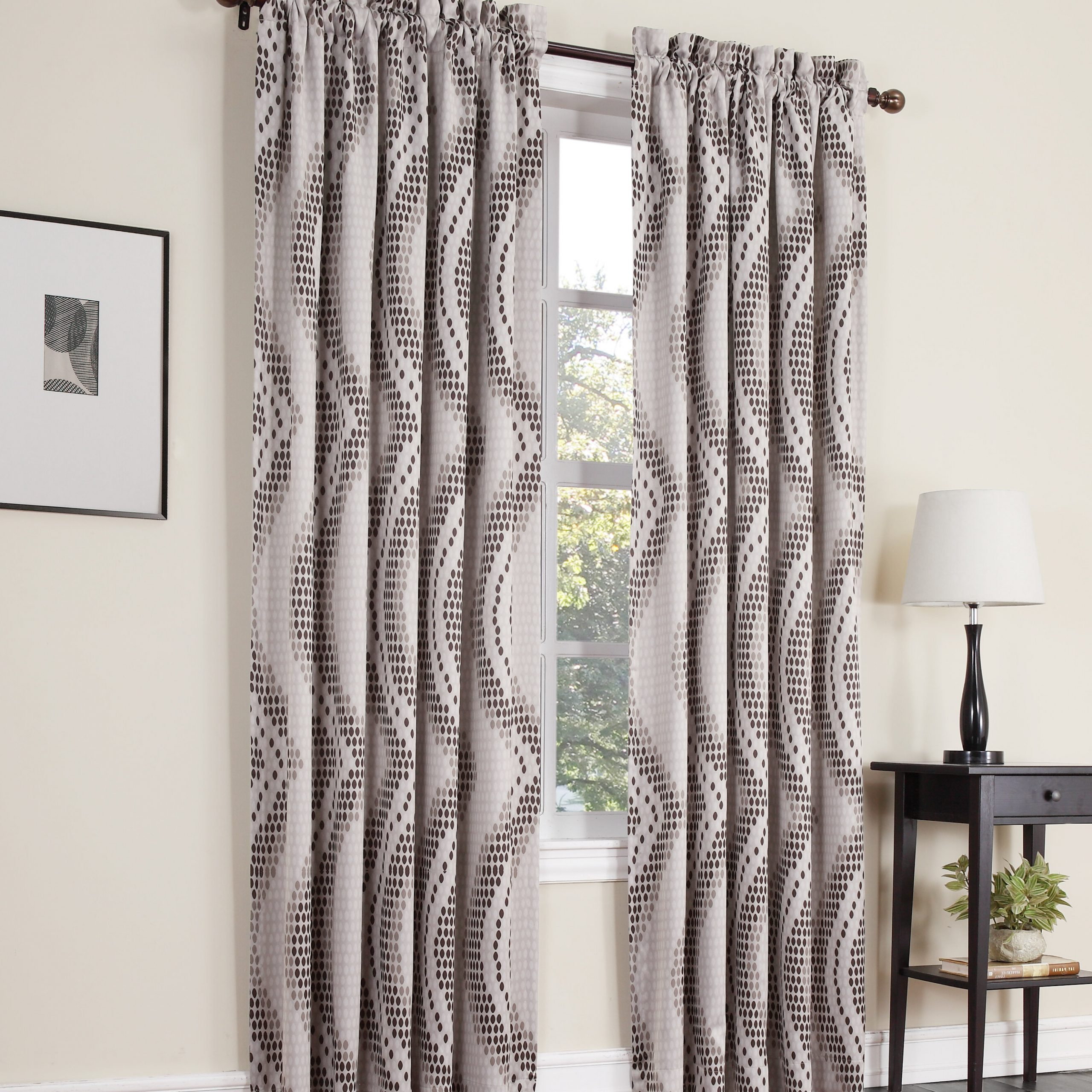 Fashionable Davis Patio Grommet Top Single Curtain Panels Within Jonathan Geometric Room Darkening Thermal Rod Pocket Single Curtain Panel (View 15 of 20)