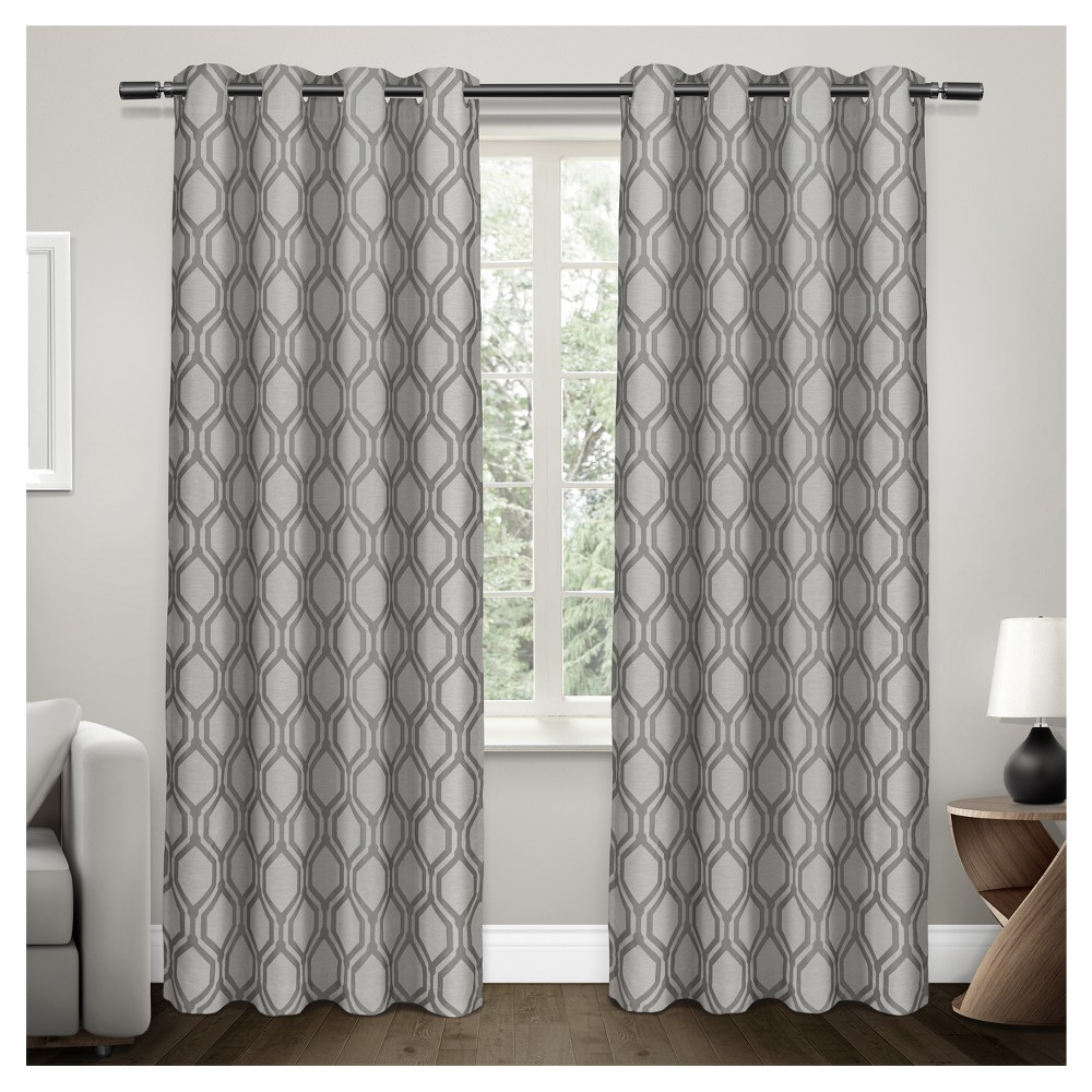 Fashionable Domino Heavyweight Geometric Jacquard Linen With Woven Pertaining To Easton Thermal Woven Blackout Grommet Top Curtain Panel Pairs (View 14 of 20)