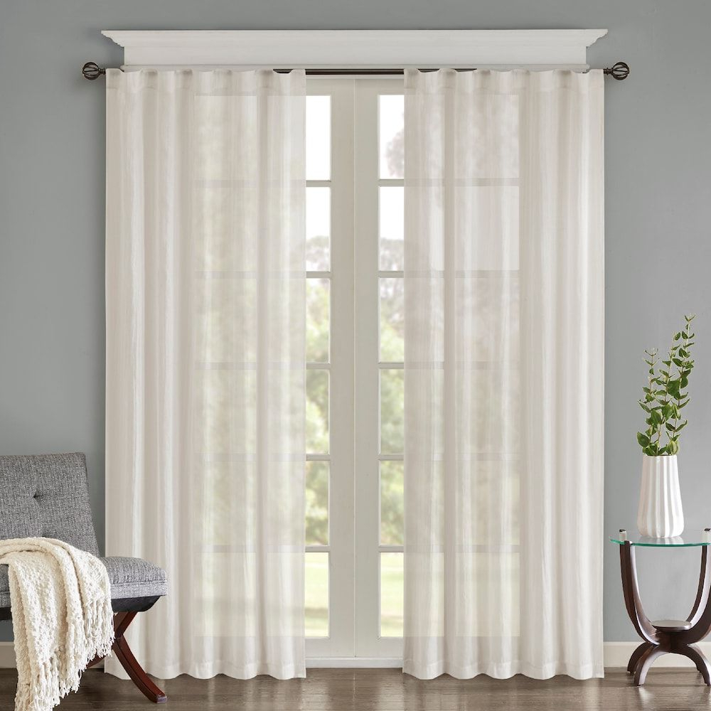 Fashionable Elowen White Twist Tab Voile Sheer Curtain Panel Pairs Regarding Madison Home Usa 2 Pack Kaylee Solid Crushed Window Curtains (View 16 of 20)