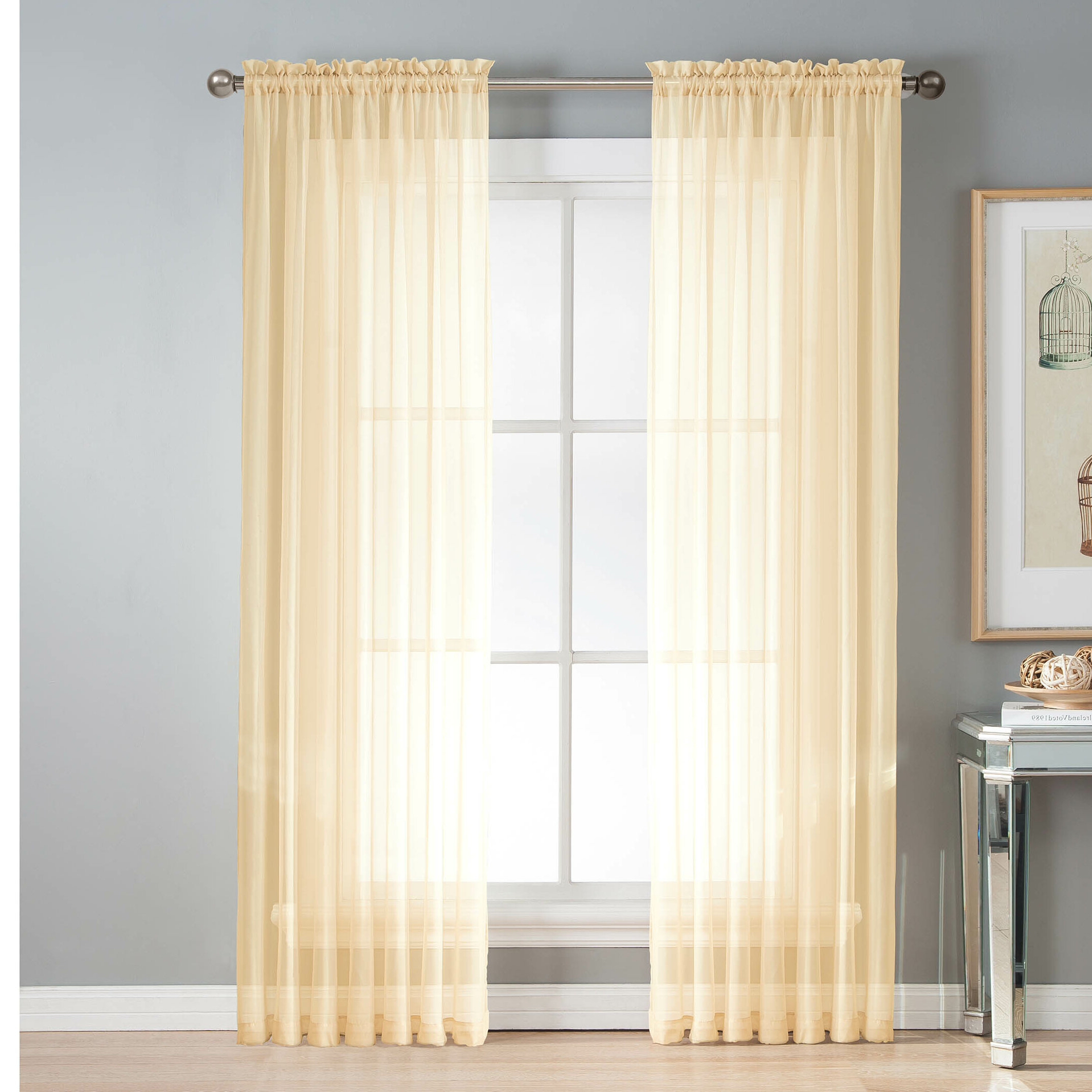 Fashionable Emily Sheer Voile Solid Single Patio Door Curtain Panels With Regard To Mcgoldrick Solid Sheer Rod Pocket Curtain Panels (Gallery 18 of 20)