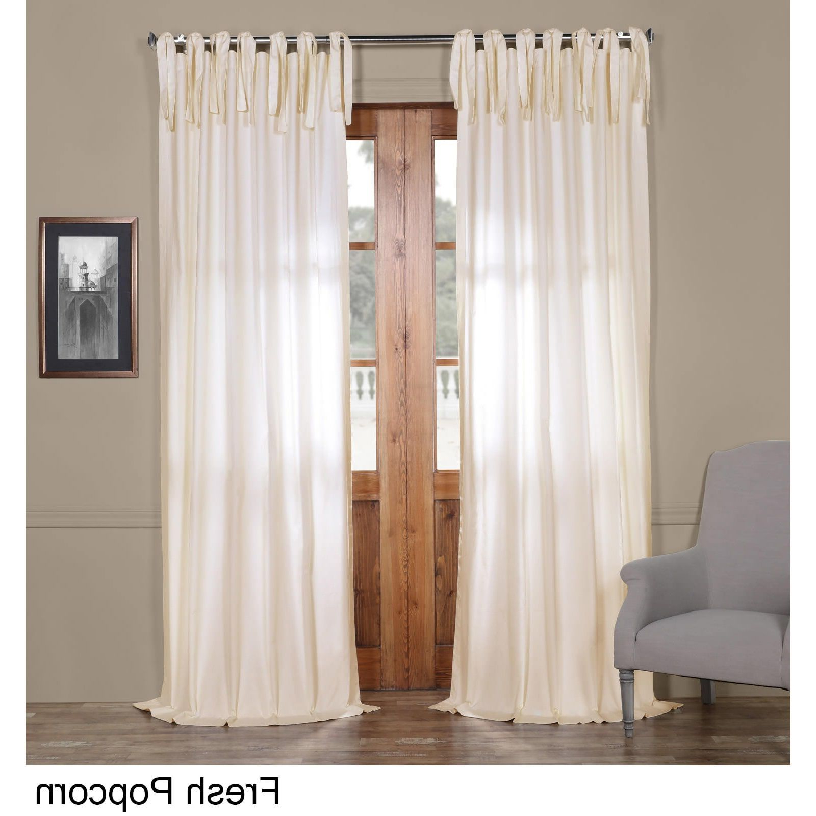 Fashionable Exclusive Fabrics Solid Cotton Tie Top Curtain (millstone In Elrene Jolie Tie Top Curtain Panels (View 13 of 20)