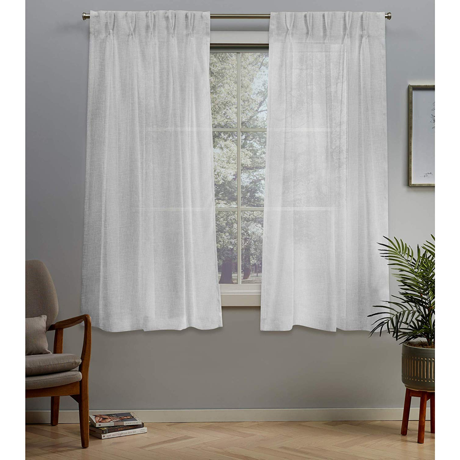 """Fashionable Exclusive Home Curtains Belgian Pp Panel Pair, 63"""" Length, Winter White Intended For Luxury Collection Monte Carlo Sheer Curtain Panel Pairs (View 13 of 20)"""