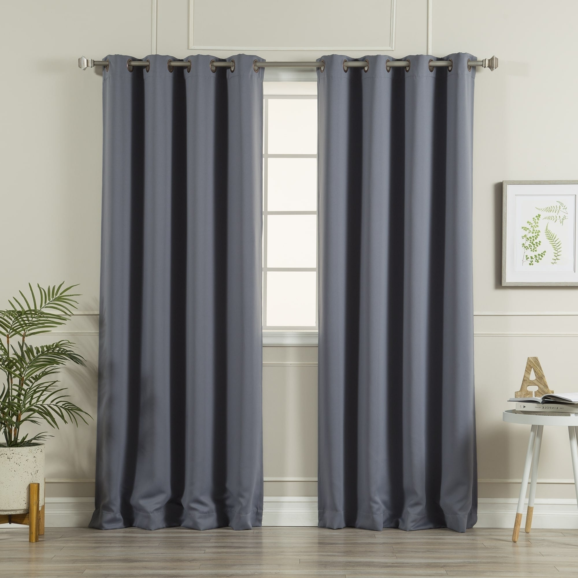 Fashionable Grommet Top Thermal Insulated Blackout Curtain Panel Pairs Pertaining To Aurora Home Antique Silver Grommet Top Thermal Insulated Blackout Curtain  Panel Pair (Gallery 13 of 20)