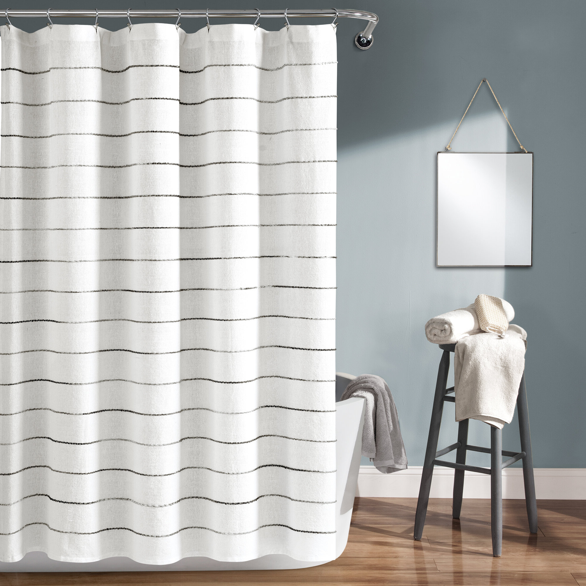 Fashionable Gutman Stripe Yarn Dyed Shower Curtain Single Throughout Ombre Stripe Yarn Dyed Cotton Window Curtain Panel Pairs (View 6 of 20)