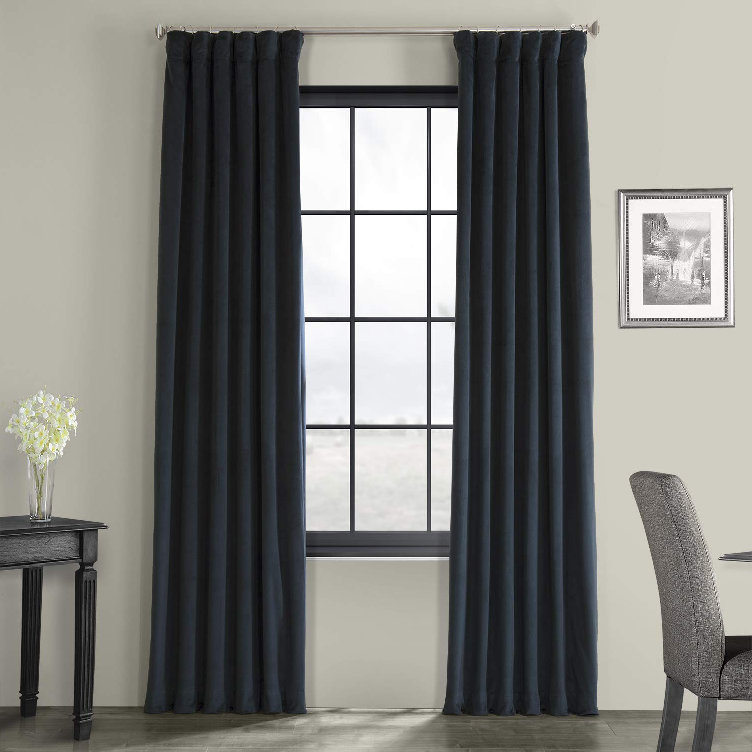 Fashionable Half Price Drapes Vpch 194023 108 Signature Blackout Velvet Curtain,  Midnight Blue, 50 X 108 For Signature Blackout Velvet Curtains (Gallery 2 of 20)