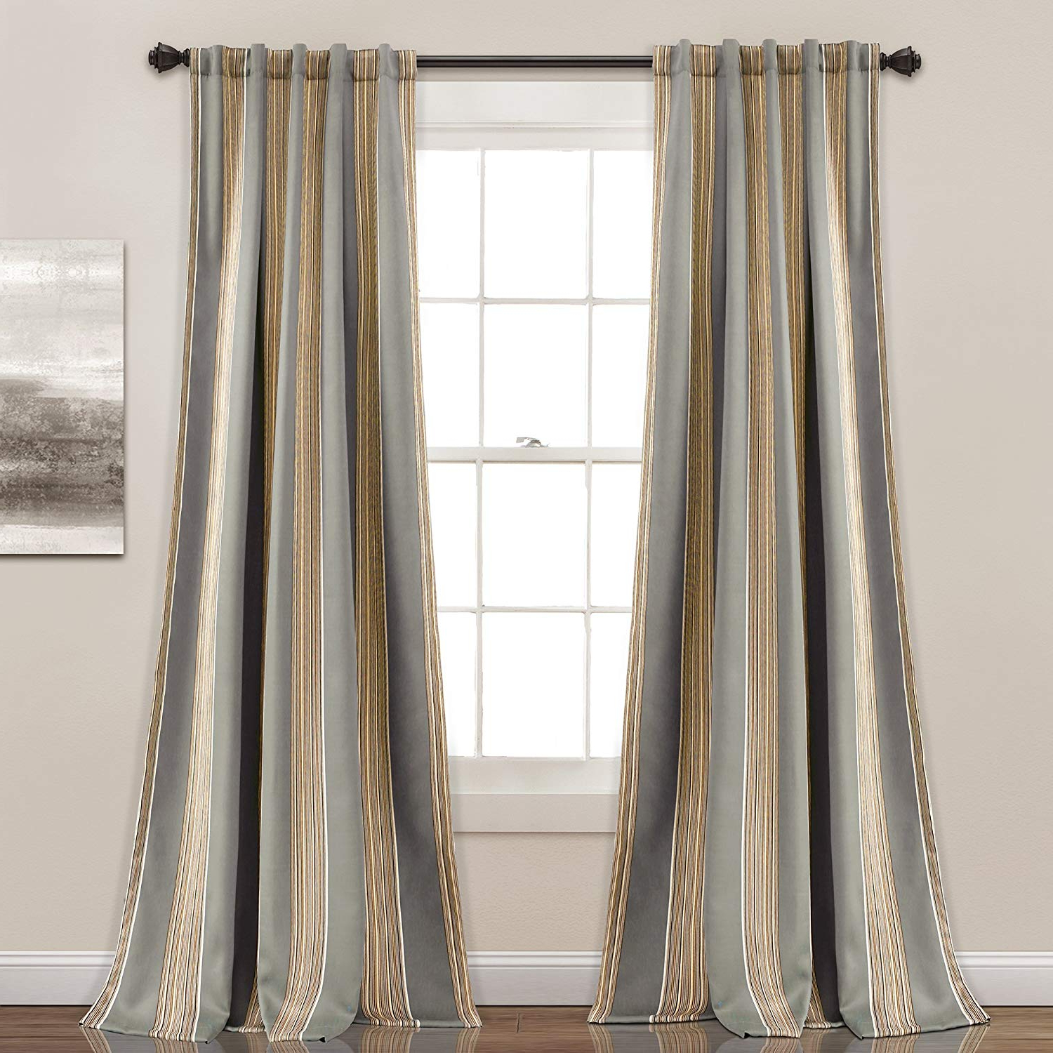 """Fashionable Julia Striped Room Darkening Window Curtain Panel Pairs Intended For Lush Decor Julia Stripe Room Darkening Window Curtain Panel Pair, 84"""" X  52"""", Gray (Gallery 1 of 20)"""
