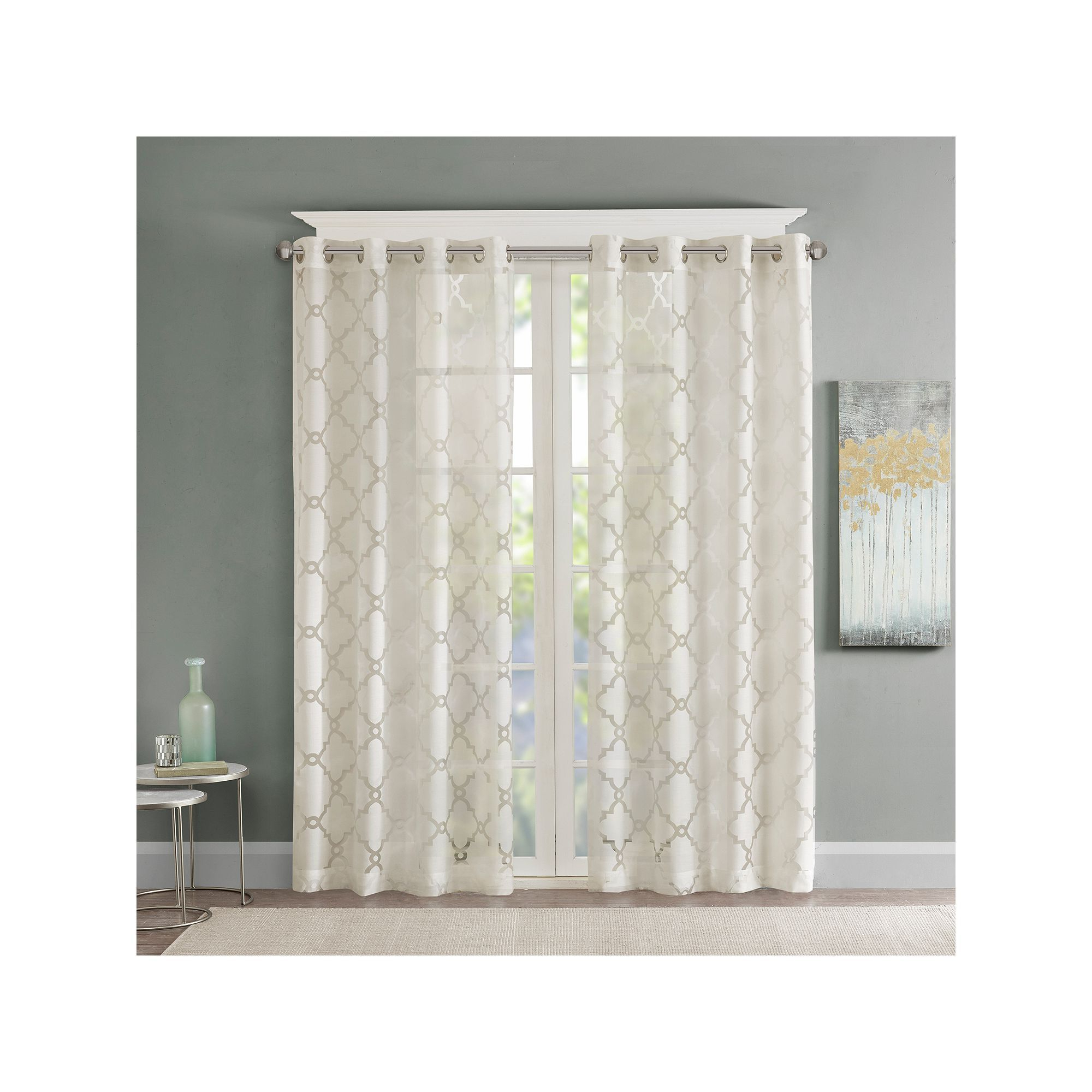Fashionable Laya Fretwork Burnout Sheer Curtain Panels Intended For Madison Home Usa 1 Panel Laya Fretwork Sheer Window Curtain (View 6 of 20)