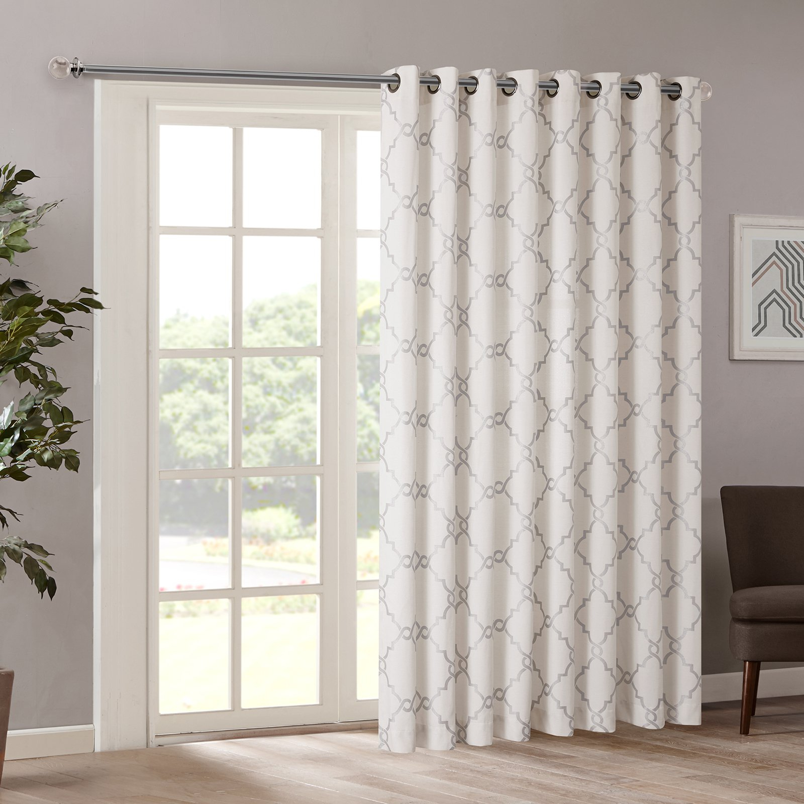 Fashionable Madison Park Saratoga Fretwork Print Patio Door Curtain With Regard To Essentials Almaden Fretwork Printed Grommet Top Curtain Panel Pairs (View 16 of 20)