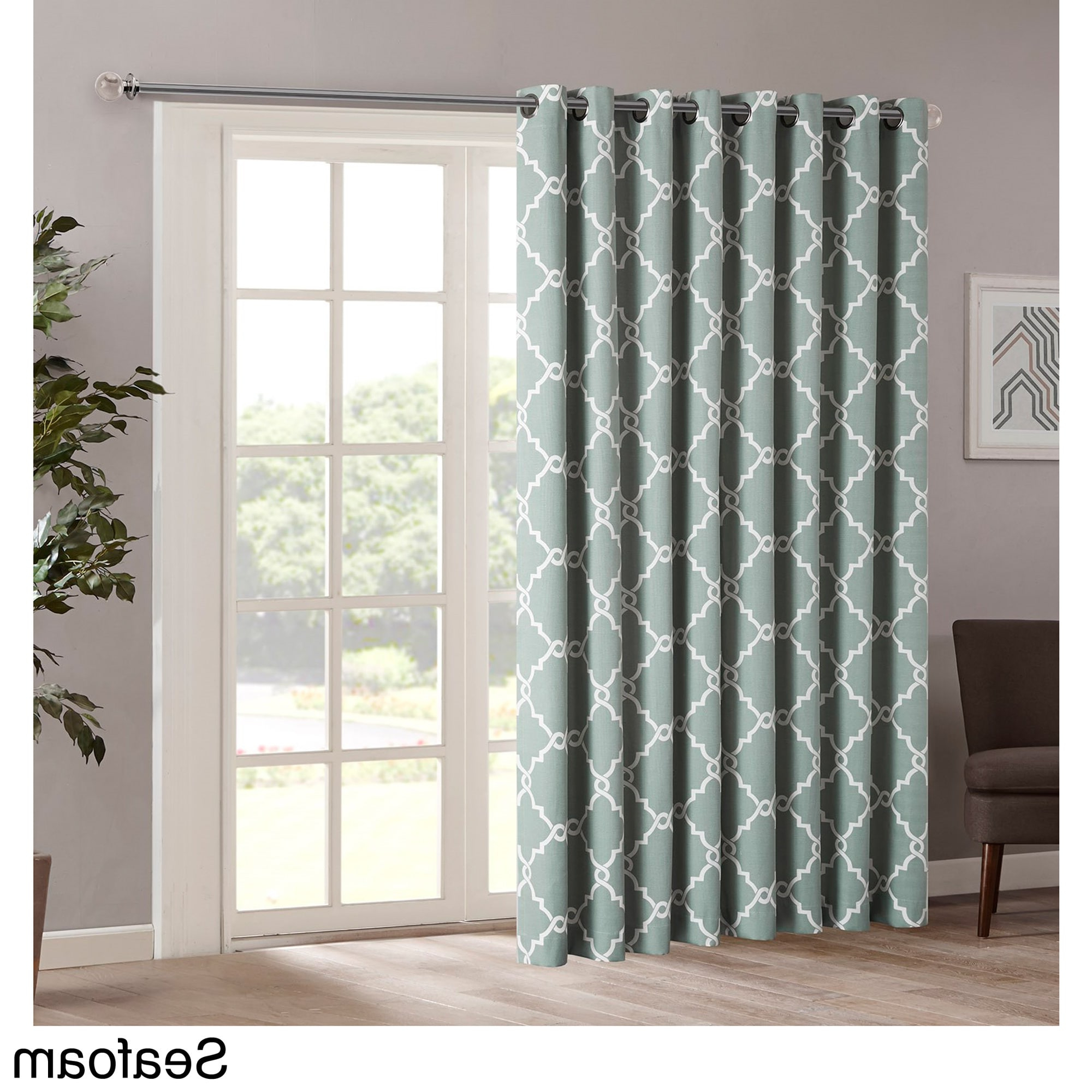 Fashionable Madison Park Westmont Fretwork Print Patio Single Window For Fretwork Print Pattern Single Curtain Panels (View 1 of 20)