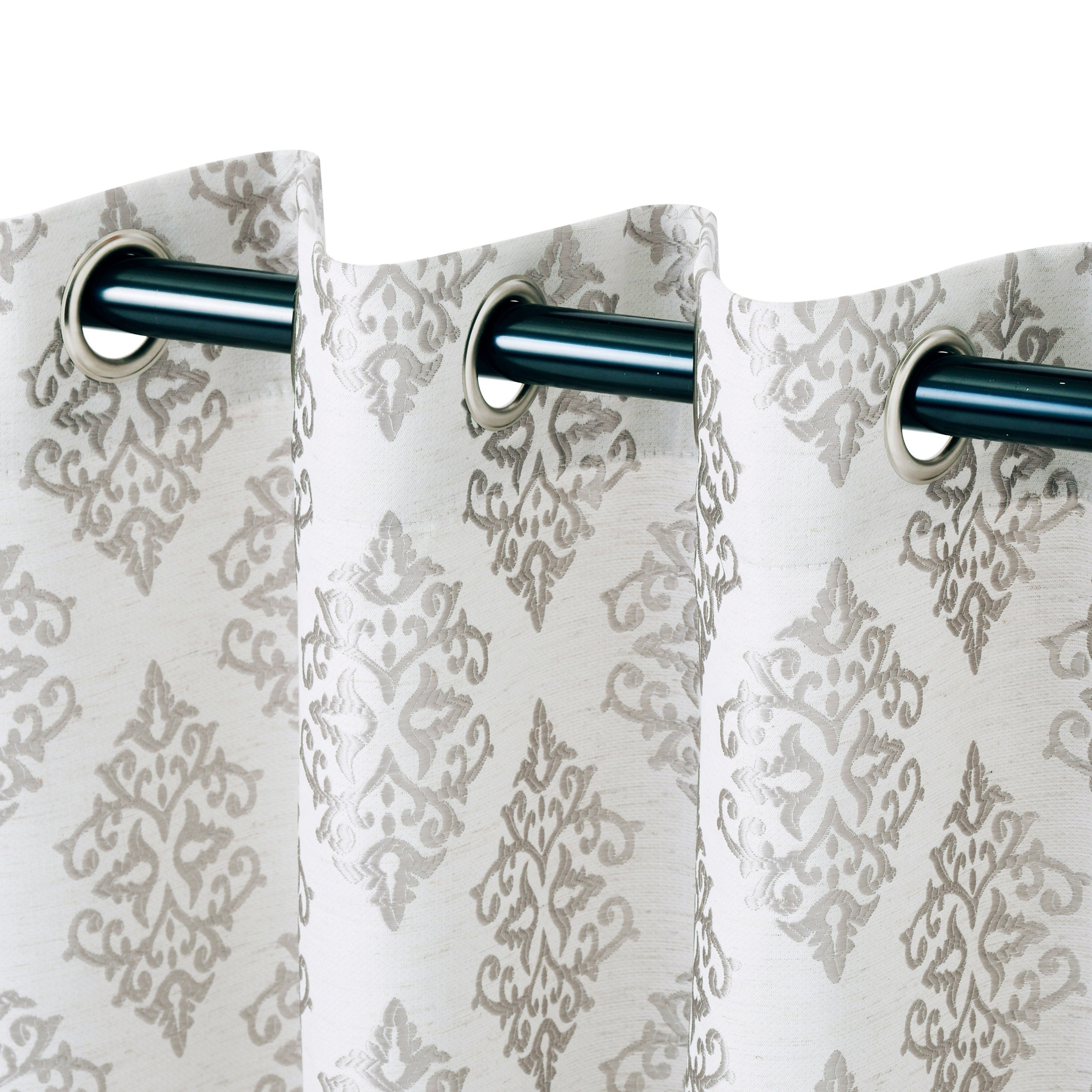 Fashionable Miranda Haus Labrea Damask Jacquard Grommet Curtain Panel (set Of 2) In Miranda Haus Labrea Damask Jacquard Grommet Curtain Panels (View 2 of 20)