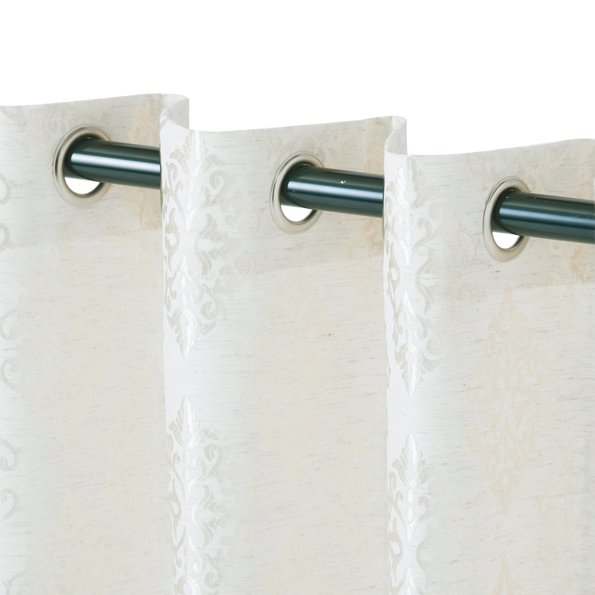 Fashionable Miranda Haus Labrea Damask Jacquard Grommet Curtain Panels With Miranda Haus Labrea Damask Jacquard Grommet Curtain Panel (set Of 2) (View 4 of 20)