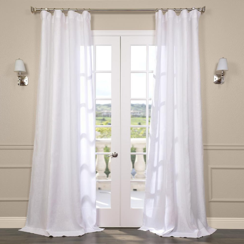 Fashionable Montpellier Striped Linen Sheer Curtains With Exclusive Fabrics & Furnishings Purity White Linen Sheer Curtain – 50 In. W X 96 In (View 10 of 20)
