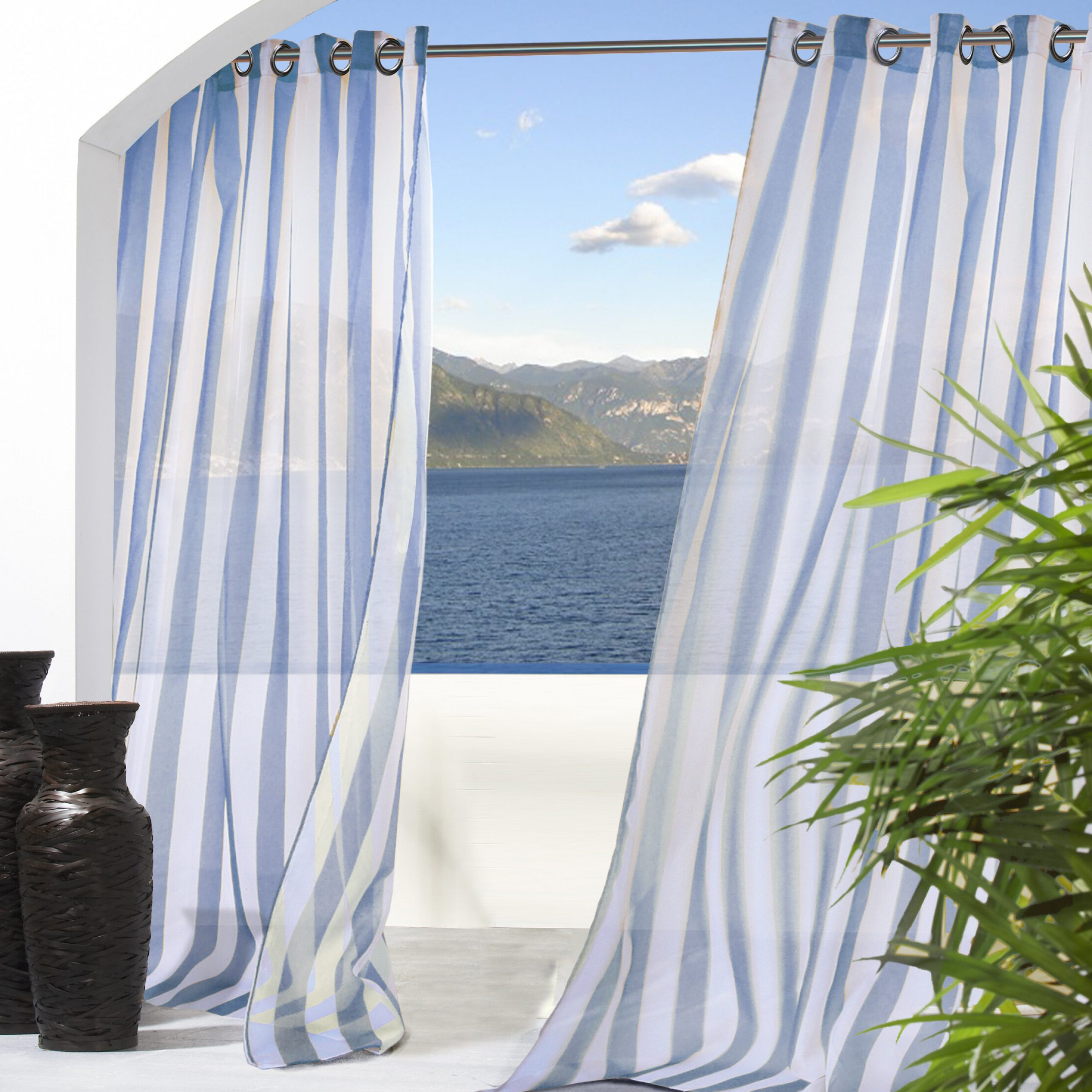 Fashionable Odessa Striped Sheer Outdoor Grommet Single Curtain Panel In Ocean Striped Window Curtain Panel Pairs With Grommet Top (View 20 of 20)