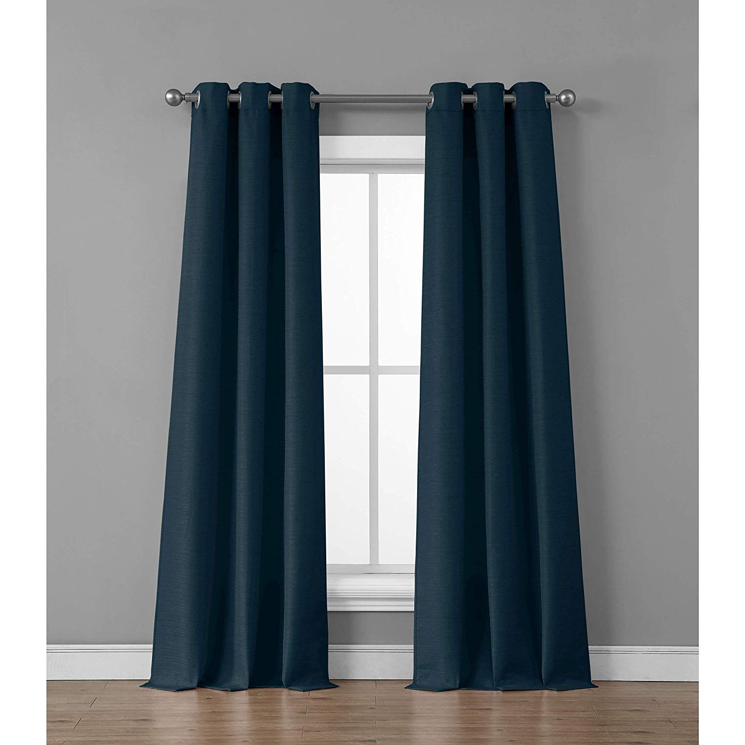 Fashionable Raw Silk Thermal Insulated Grommet Top Curtain Panel Pairs Within Tribeca Home Raw Faux Silk Curtain Panel Pair, 76 In. X 84 In, Indigo (Gallery 14 of 20)