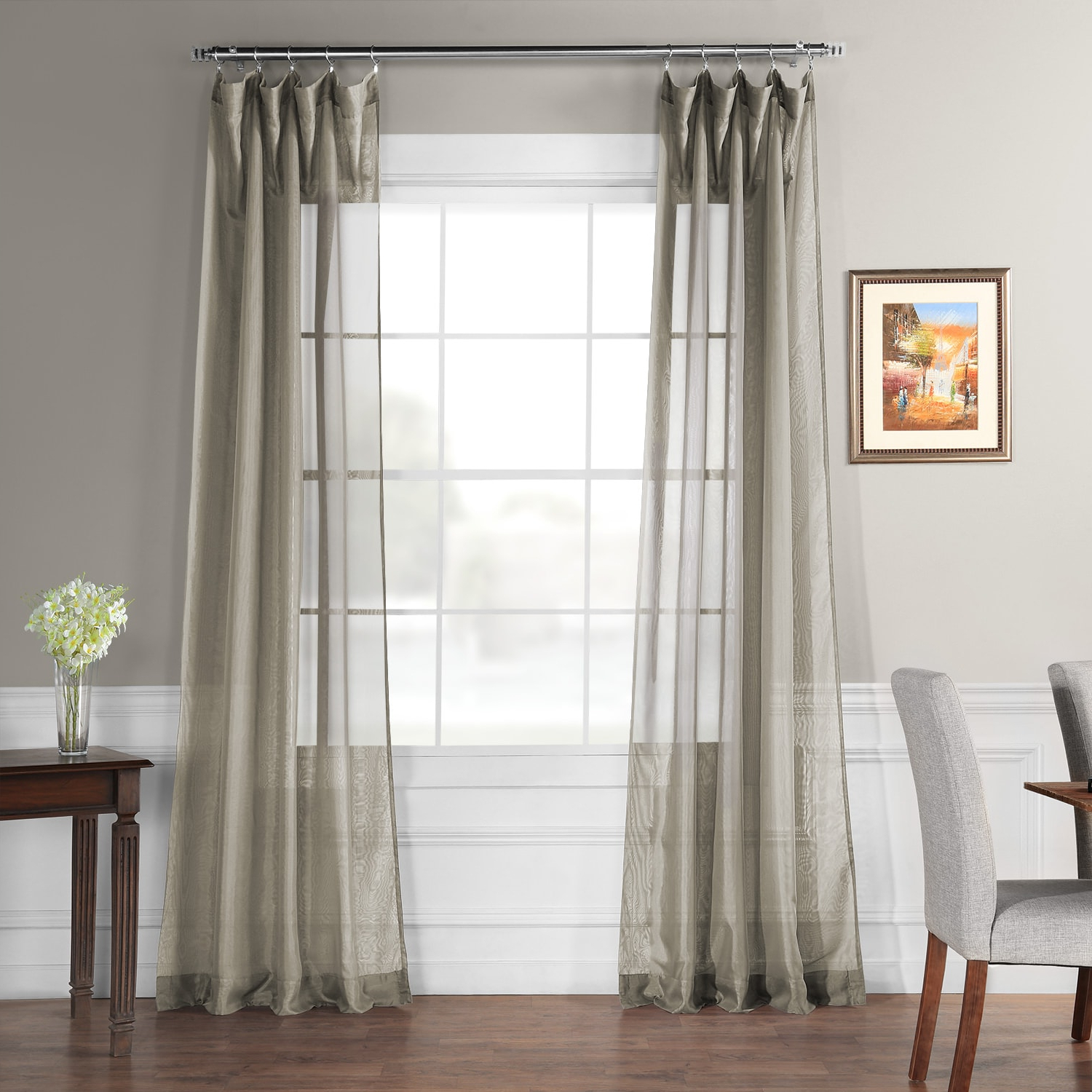 Fashionable Signature Extrawide Double Layer Sheer Curtain Panels In Signature Museum Grey Sheer Curtain (Gallery 16 of 20)