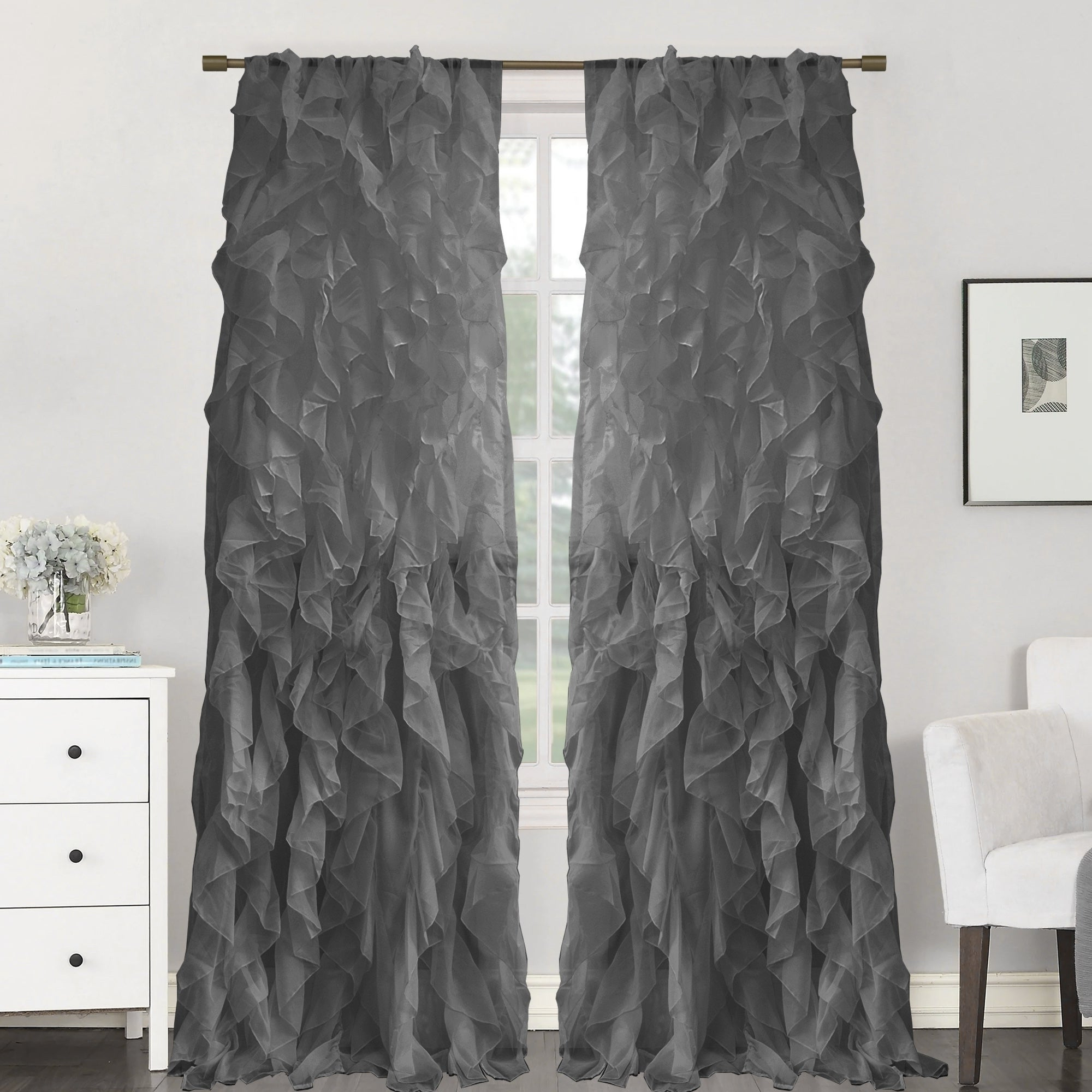 "Fashionable Sweet Home Collection Sheer Voile Waterfall Ruffled Tier 84 Inch Single  Curtain Panel – 84"" Long X 50"" Wide With Sheer Voile Waterfall Ruffled Tier Single Curtain Panels (View 4 of 20)"