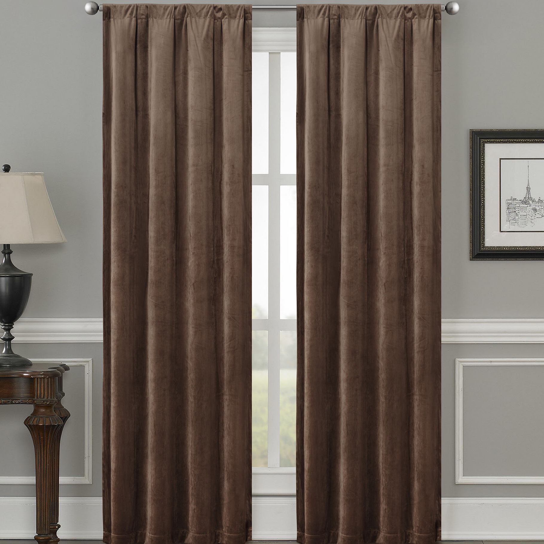 Fashionable Velvet Solid Room Darkening Window Curtain Panel Sets In Bomar Luxury Velvet Solid Color Room Darkening Thermal Rod Pocket Curtain  Panels (Gallery 20 of 20)