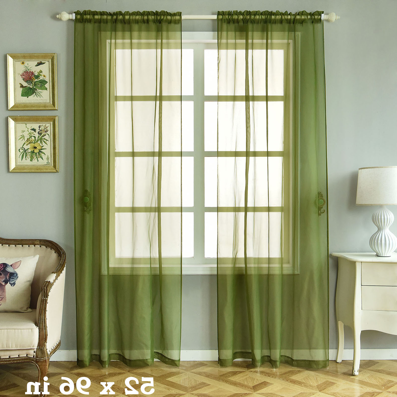 """Fashionable Willow Rod Pocket Window Curtain Panels Pertaining To Details About 2 Pcs Willow Green 52"""" X 96"""" Sheer Organza Window Curtains Drapes Panels Home (View 20 of 20)"""