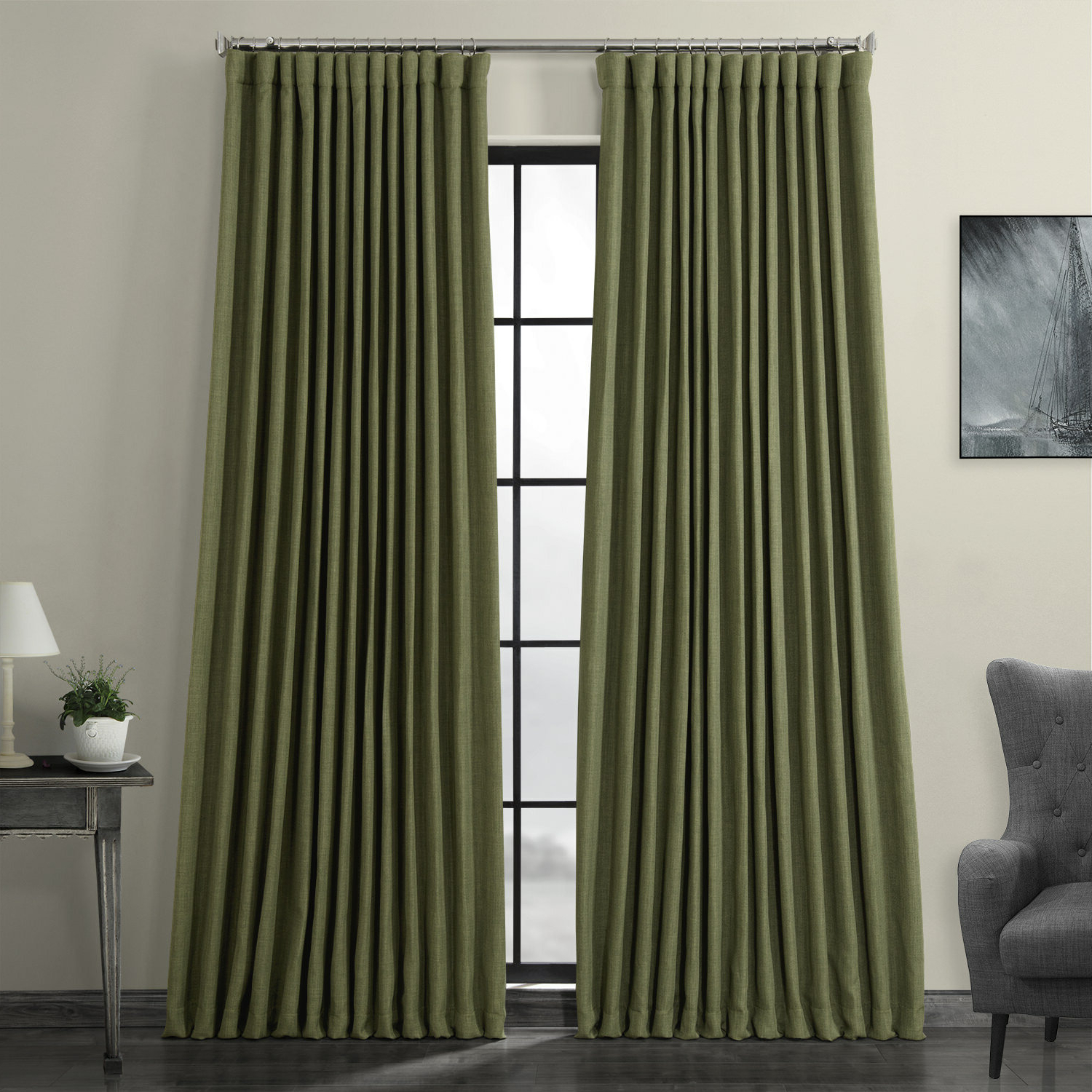 Faux Linen Blackout Curtains Regarding Well Known Waubun Faux Linen Extra Wide Solid Color Blackout Rod Pocket Single Curtain Panel (View 15 of 20)