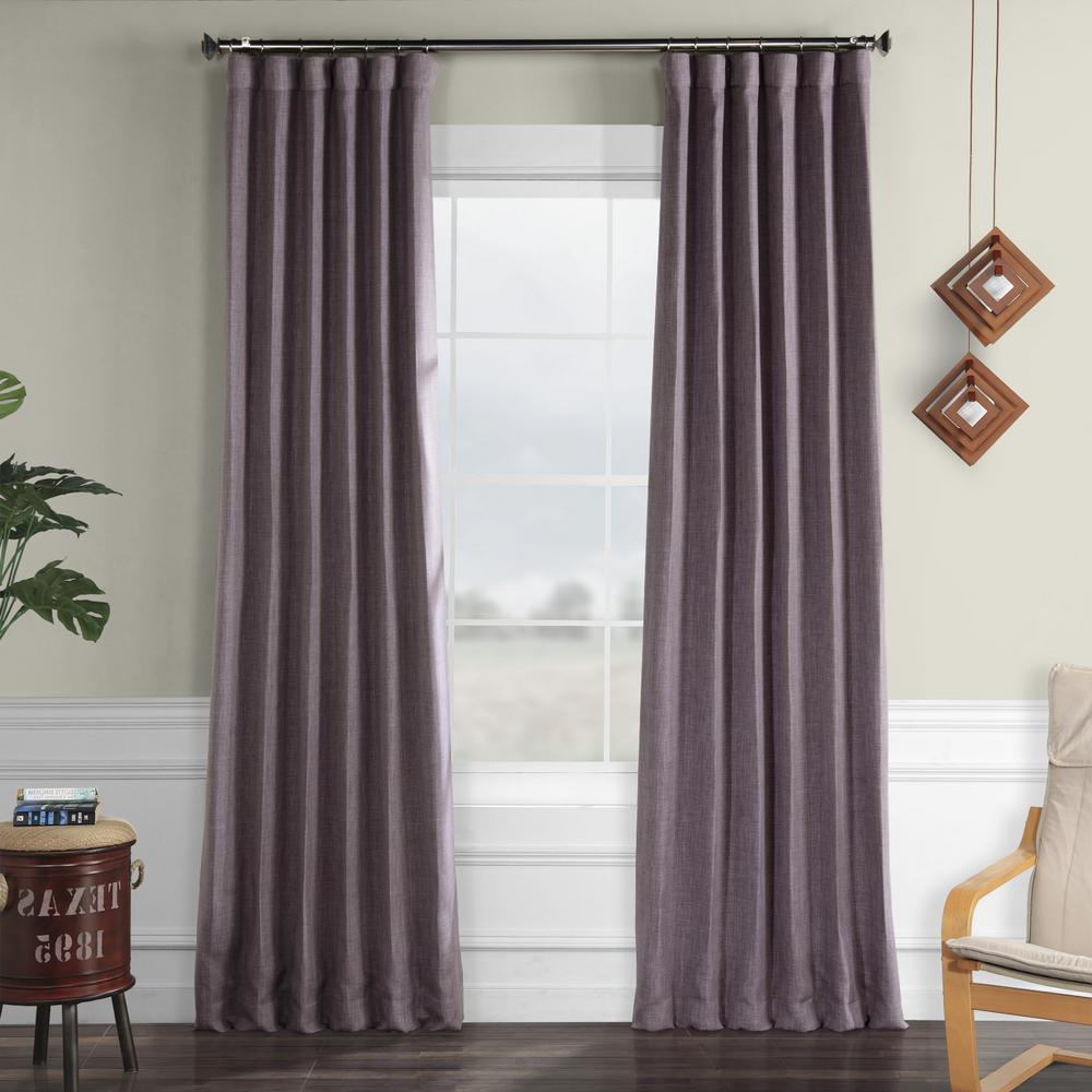 Faux Linen Blackout Curtains Throughout Famous Exclusive Fabrics & Furnishings Iris Purple Faux Linen Blackout Curtain – 50 In. W X 84 In (View 7 of 20)