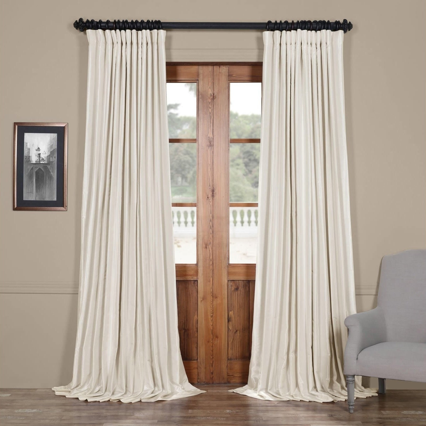 Faux Linen Extra Wide Blackout Curtains Inside Popular Exclusive Fabrics Faux Silk Extra Wide Blackout Single Curtain Panel (View 7 of 21)