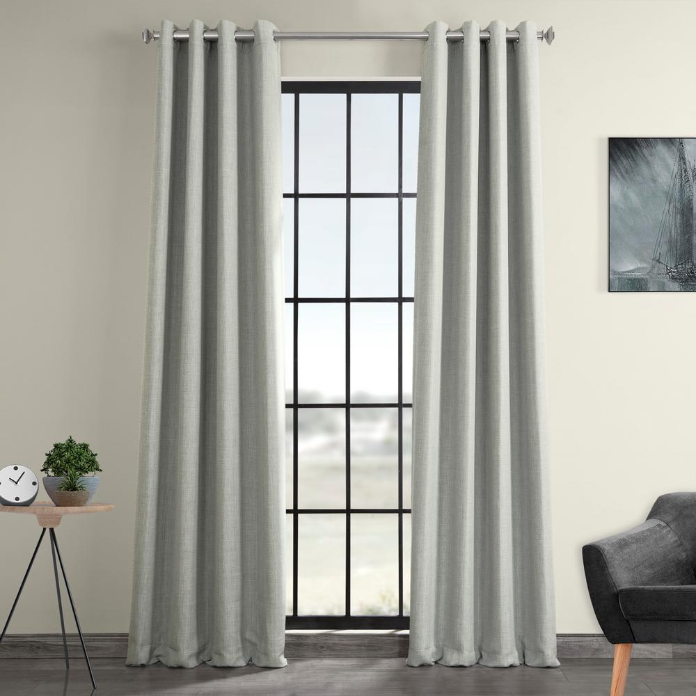 Faux Linen Extra Wide Blackout Curtains Intended For Popular Exclusive Fabrics & Furnishings Heather Gray Faux Linen Grommet Blackout Curtain – 50 In. W X 108 In (View 10 of 21)