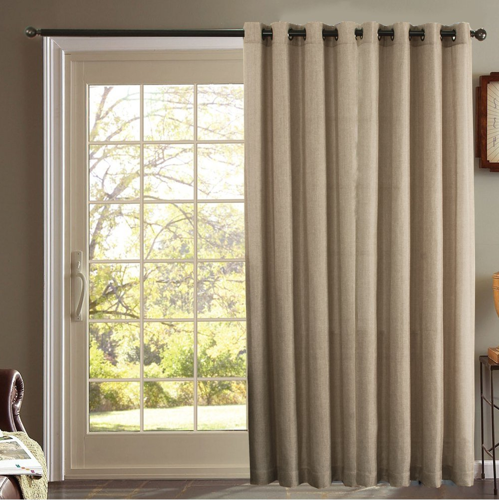 Faux Linen Extra Wide Blackout Curtains Throughout Preferred Furniture Fresh – Burlap Look – Blackout Thermal Faux Linen One Patio Panel (102X84, Beige) (Gallery 11 of 21)