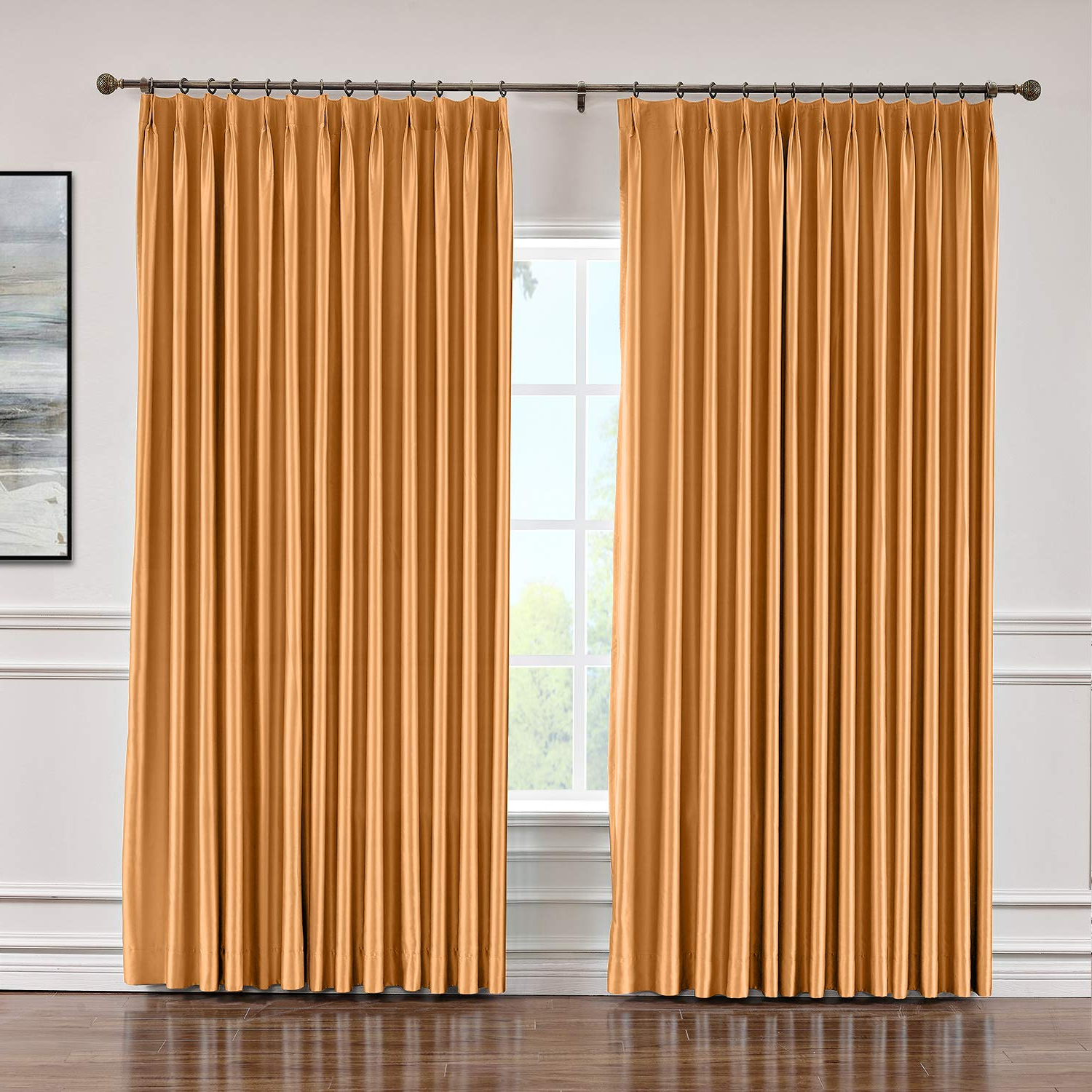 Faux Silk Extra Wide Blackout Single Curtain Panels For Fashionable Macochico Extra Wide Soft Faux Dupioni Silk Curtain Pinch Pleat Blackout  Drapery Indoor Panels For Bedroom Meeting Room Living Room Office, Copper  120 (Gallery 13 of 20)