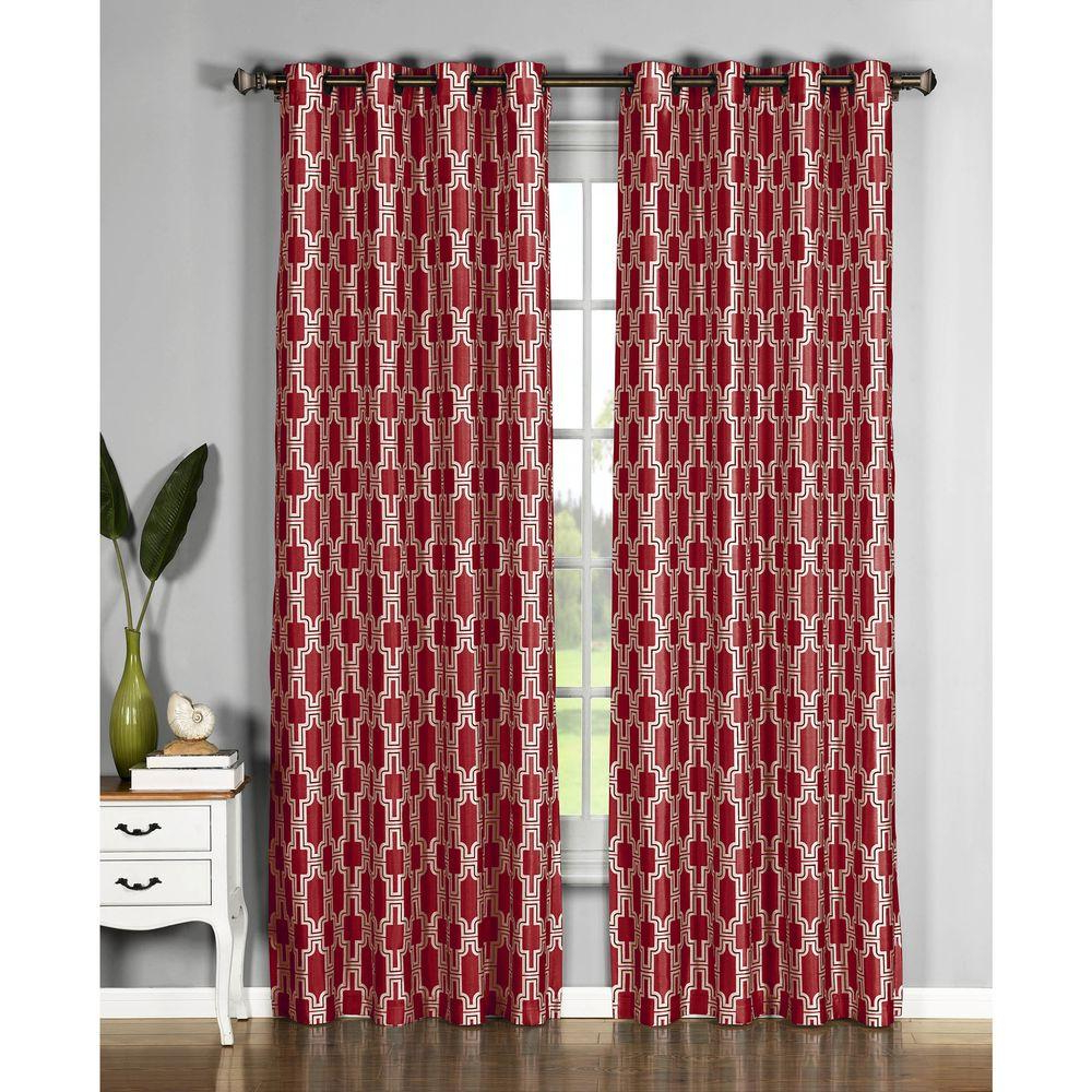 Faux Silk Extra Wide Blackout Single Curtain Panels Inside 2021 Window Elements Semi Opaque Wesley Faux Silk Extra Wide 96 In. L Grommet  Curtain Panel Pair, Red (Set Of 2) (Gallery 8 of 20)