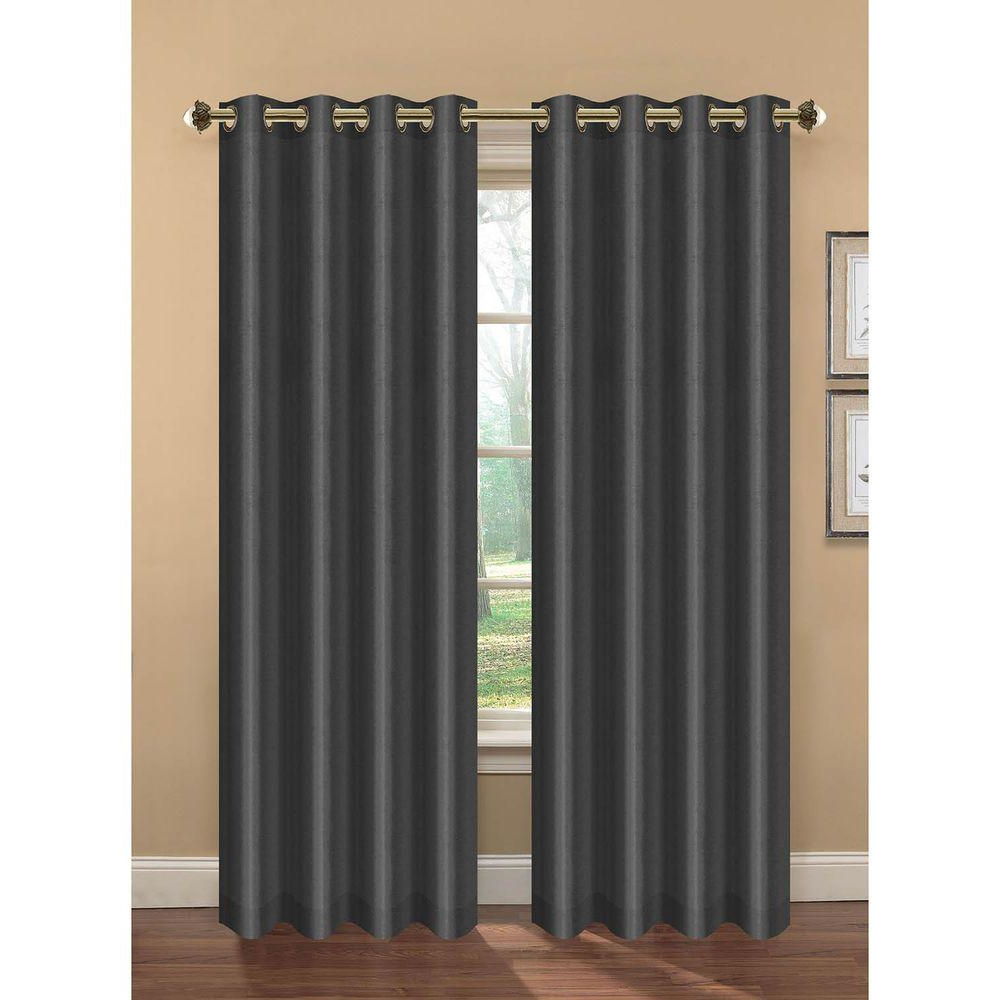 Faux Silk Extra Wide Blackout Single Curtain Panels Inside Best And Newest Bella Luna Semi Opaque Camilla Faux Silk 84 In. L Extra Wide Room Darkening  Grommet Curtain Panel Pair, Charcoal (Set Of 2) (Gallery 12 of 20)