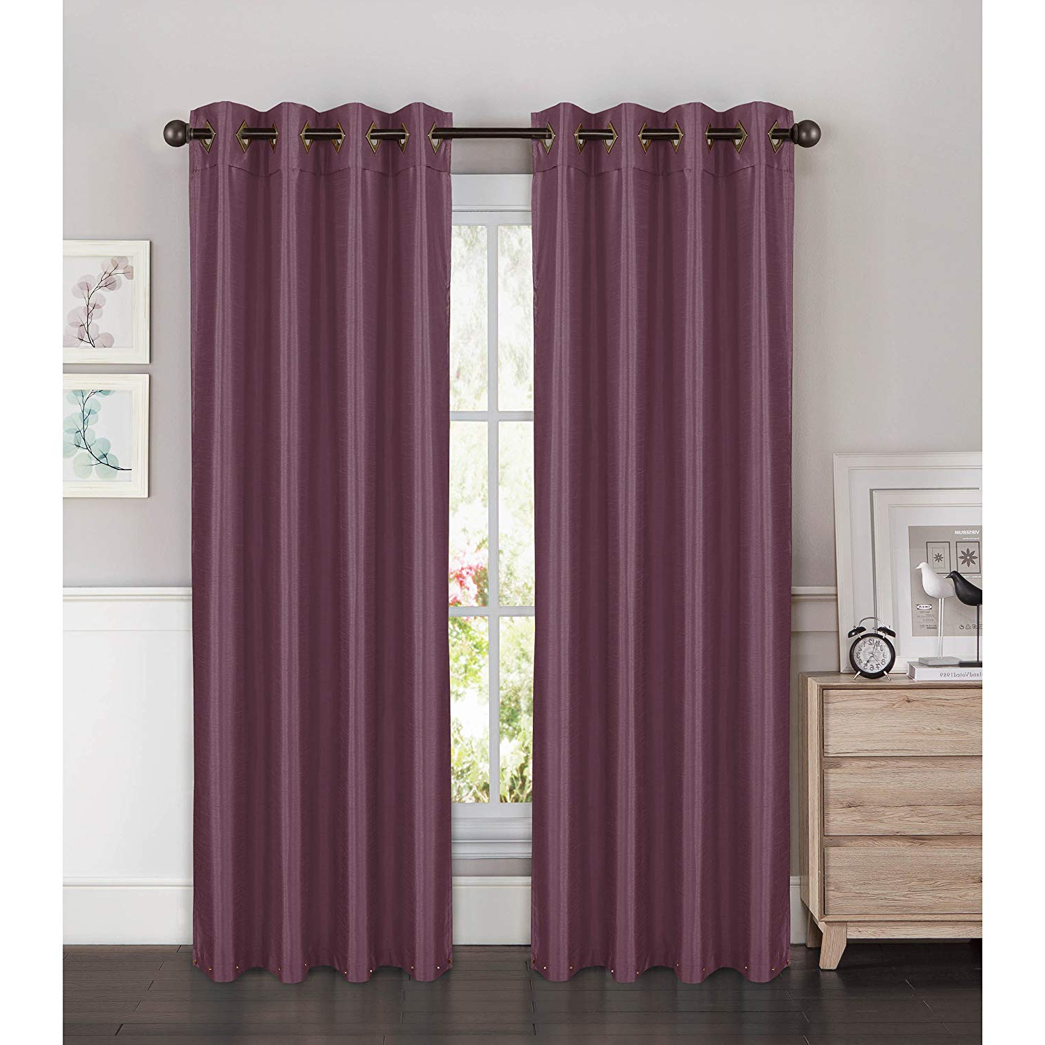 Faux Silk Extra Wide Blackout Single Curtain Panels Intended For Famous Window Elements Kim Faux Silk Extra Wide 108 X 84 In (View 9 of 20)