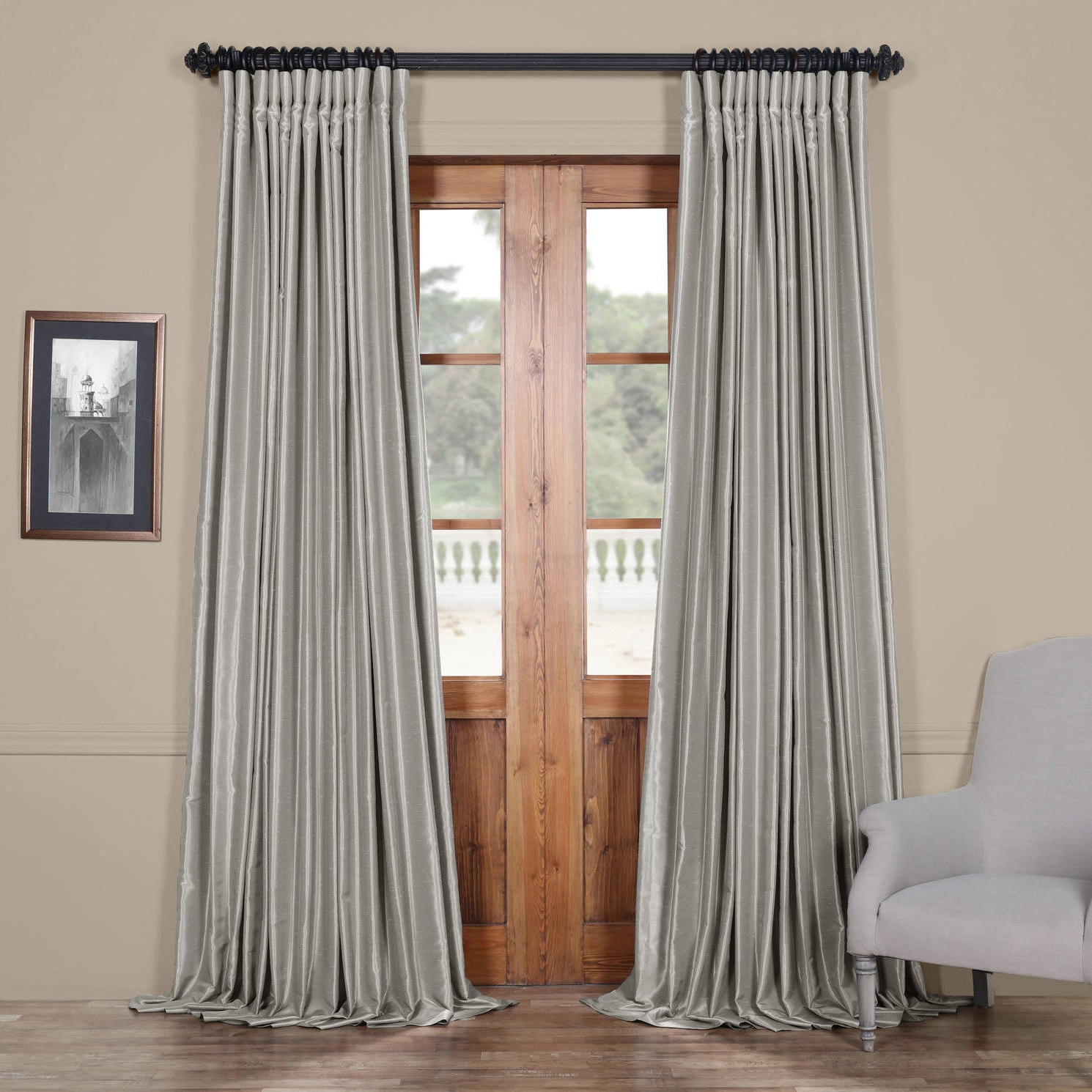 Faux Silk Extra Wide Blackout Single Curtain Panels Intended For Most Popular Exclusive Fabrics Faux Silk Extra Wide Blackout Single Curtain Panel (Gallery 4 of 20)