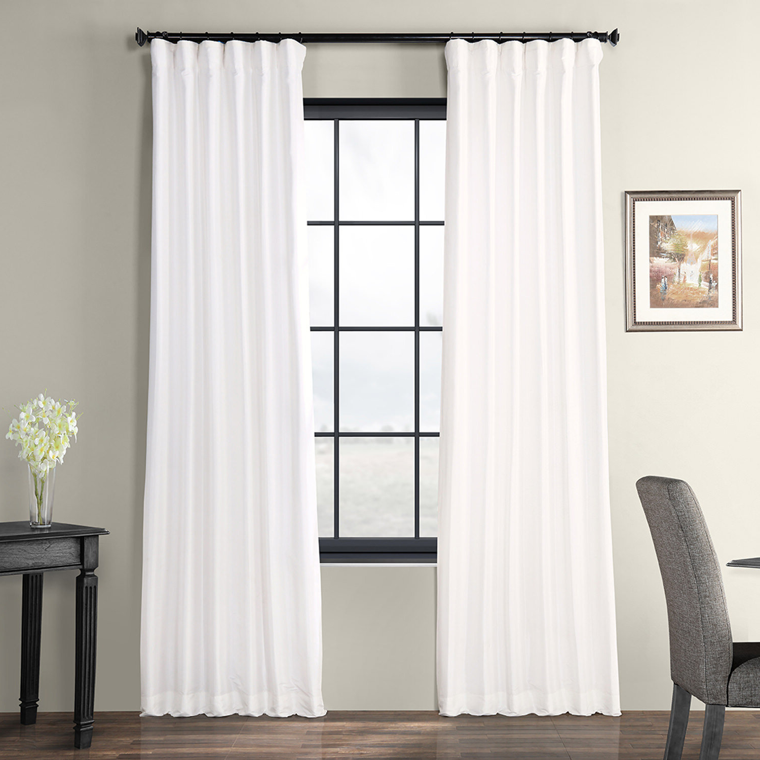 Faux Silk Taffeta Solid Blackout Single Curtain Panels Regarding Most Up To Date Lochleven Faux Silk Taffeta Solid Room Polyester Darkening Single Curtain Panel (View 6 of 20)