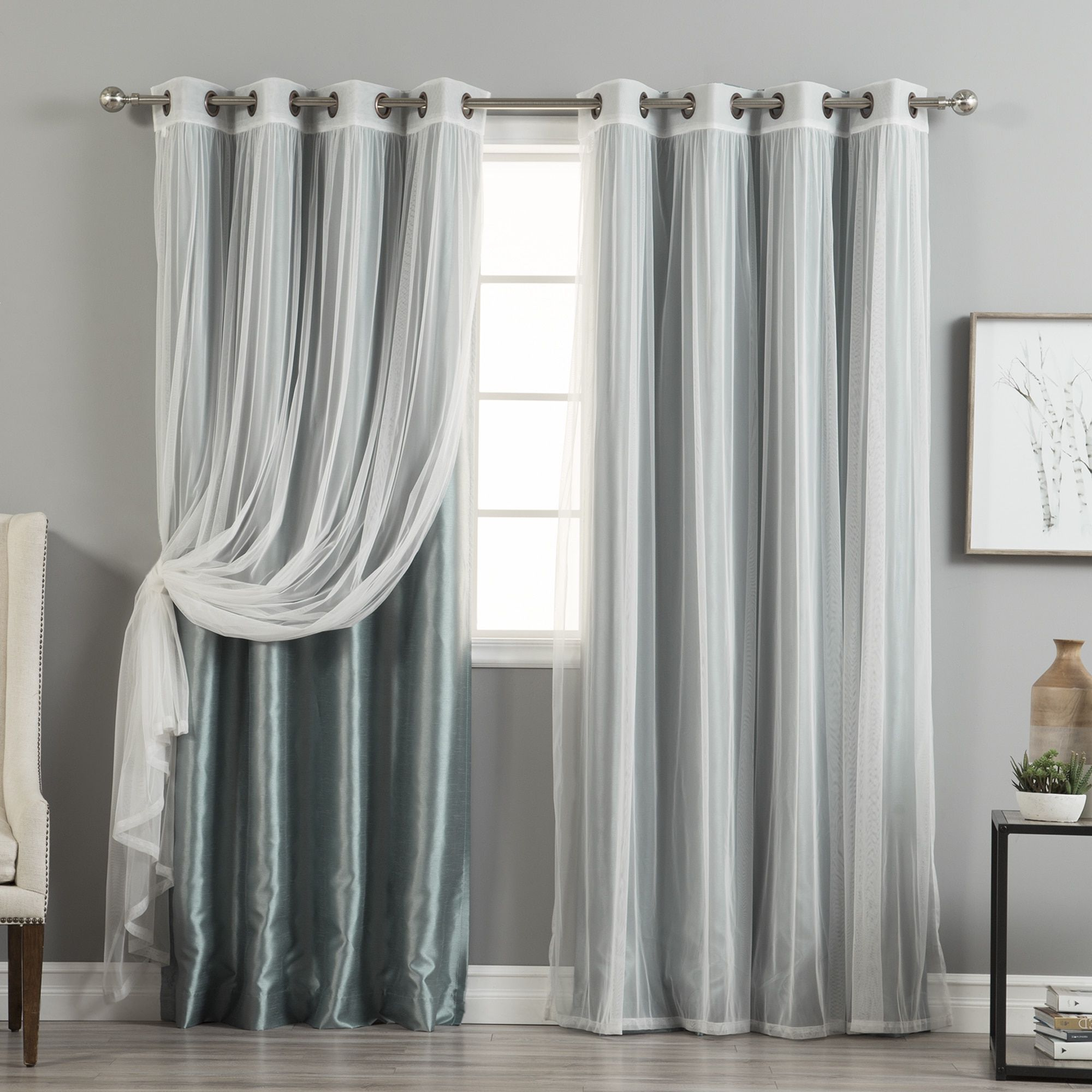 Favorite Aurora Home Mix & Match Curtains Faux Silk Blackout Tulle Pertaining To Mix & Match Blackout Tulle Lace Bronze Grommet Curtain Panel Sets (Gallery 10 of 20)