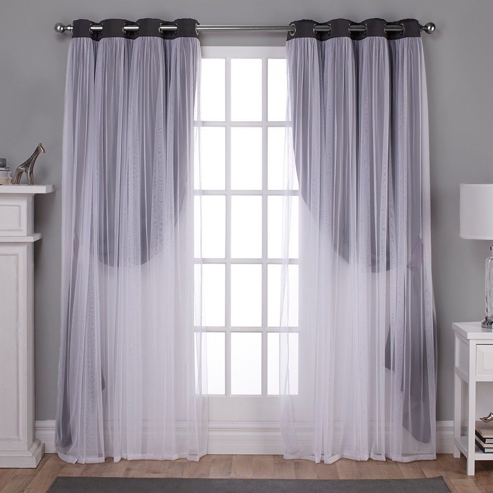 Favorite Catarina Layered Curtain Panel Pairs With Grommet Top Within Caterina Layered Solid Blackout With Sheer Top Curtain (View 17 of 20)