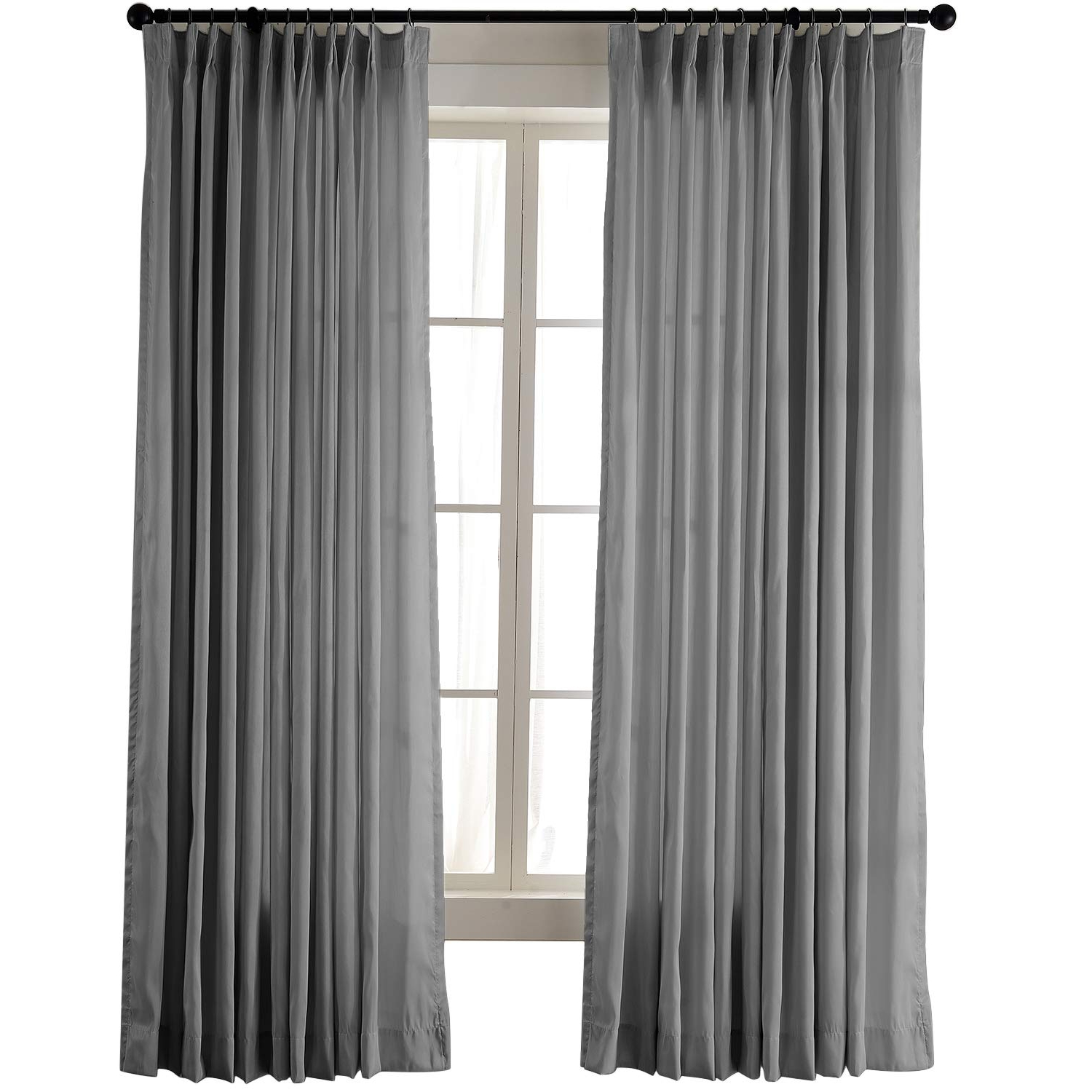 "Favorite Chadmade Vintage Textured Faux Dupioni Silk Drape Curtain Panel Pinch  Pleated 72"" W X 72"" L With White Blackout Lined, Silver Grey With Regard To Silver Vintage Faux Textured Silk Curtain Panels (View 5 of 20)"