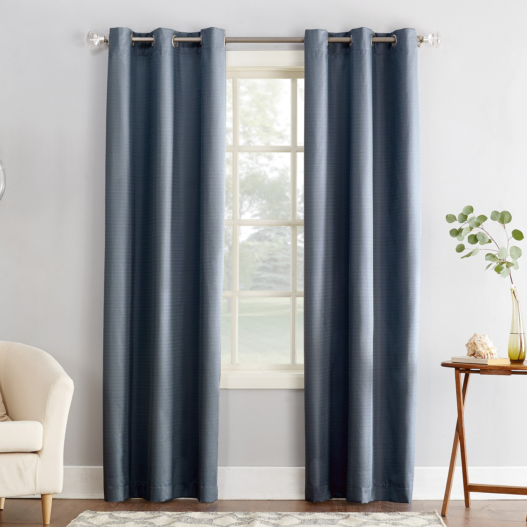 Favorite Cooper Textured Thermal Insulated Grommet Curtain Panels With Regard To Sun Zero Cooper Textured Thermal Lined Room Darkening Energy (View 3 of 20)