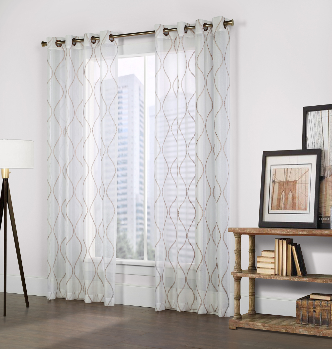Favorite Crystal White Faux Linen Grommet Panel – Couture Pertaining To Kida Embroidered Sheer Curtain Panels (Gallery 12 of 20)