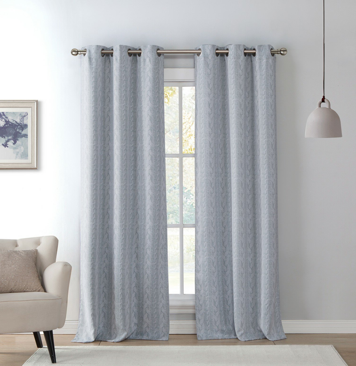 Favorite Davis Patio Grommet Top Single Curtain Panels With Davis Knit Geometric Blackout Grommet Curtain Panels (Gallery 11 of 20)