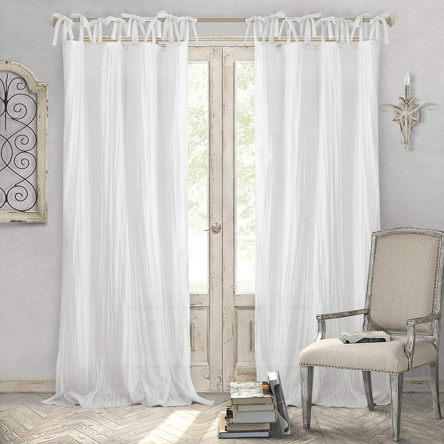 Featured Photo of Elrene Jolie Tie Top Curtain Panels