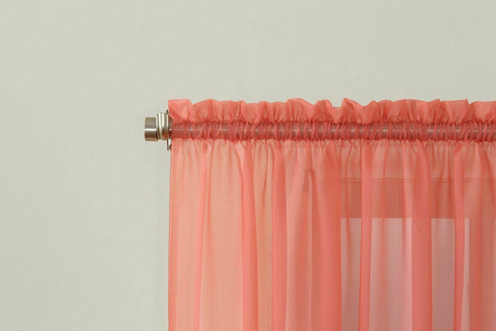 """Favorite Emily Sheer Voile Single Curtain Panels For Emily Sheer Voile Rod Pocket Curtain Panel, 59"""" X 84"""", Coral Orange (Gallery 18 of 20)"""